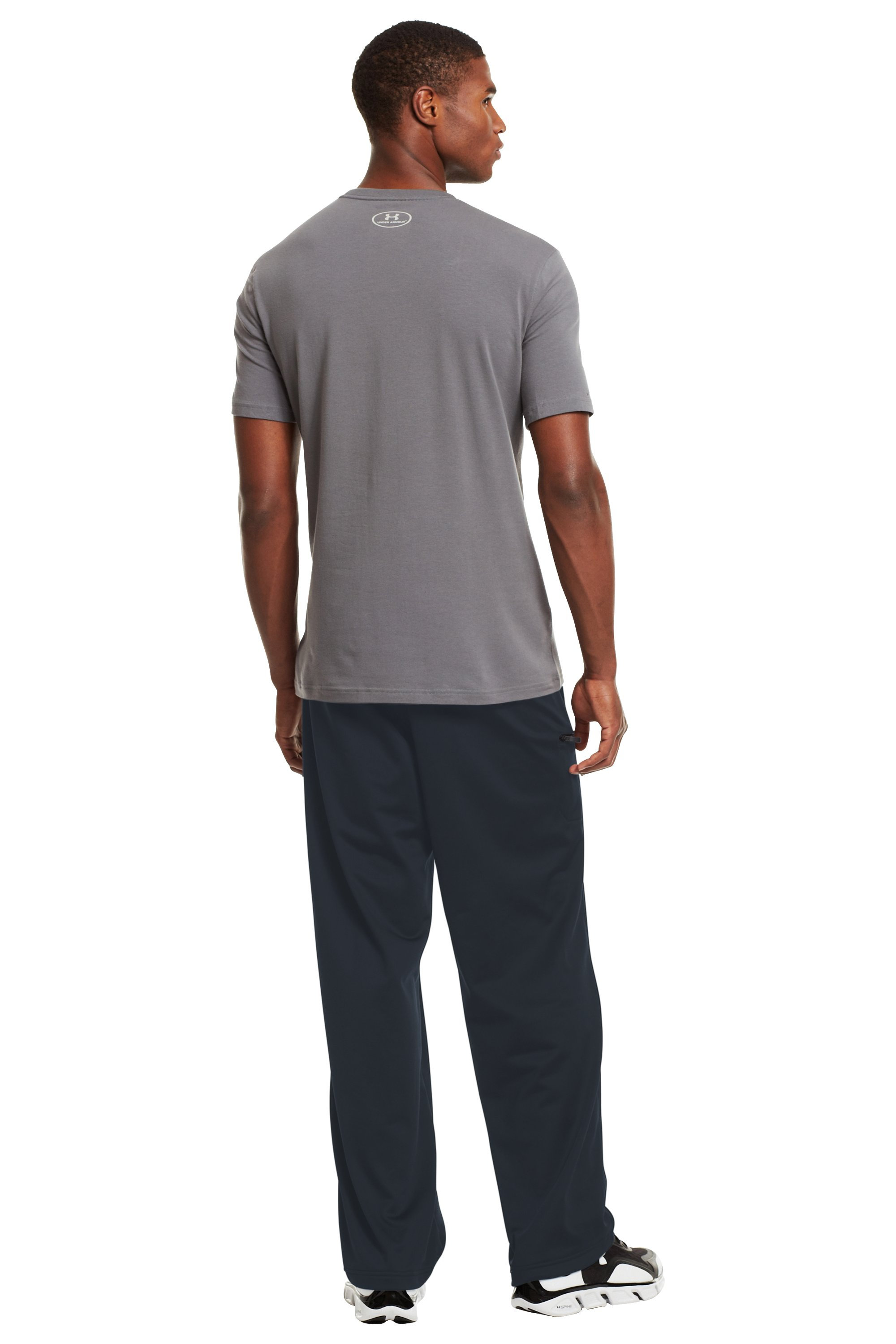 Men's UA Flossnit Warm-Up Pants, Charcoal, Back