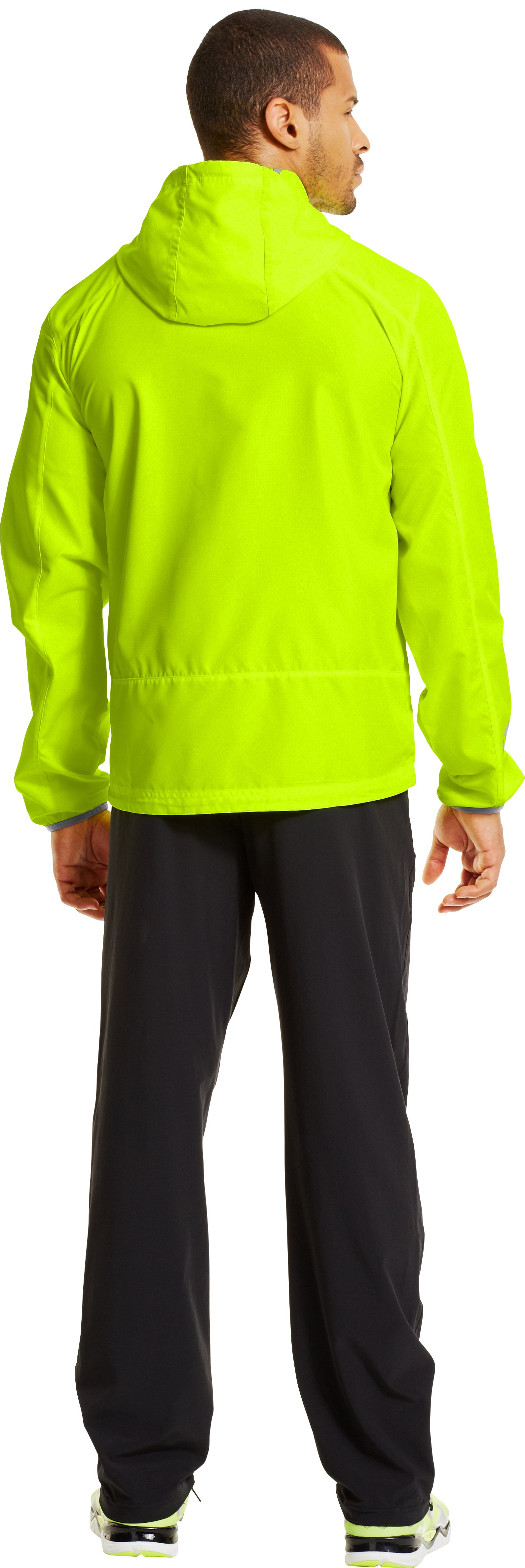 Men's UA Storm Imminent Run Jacket, High-Vis Yellow, Back