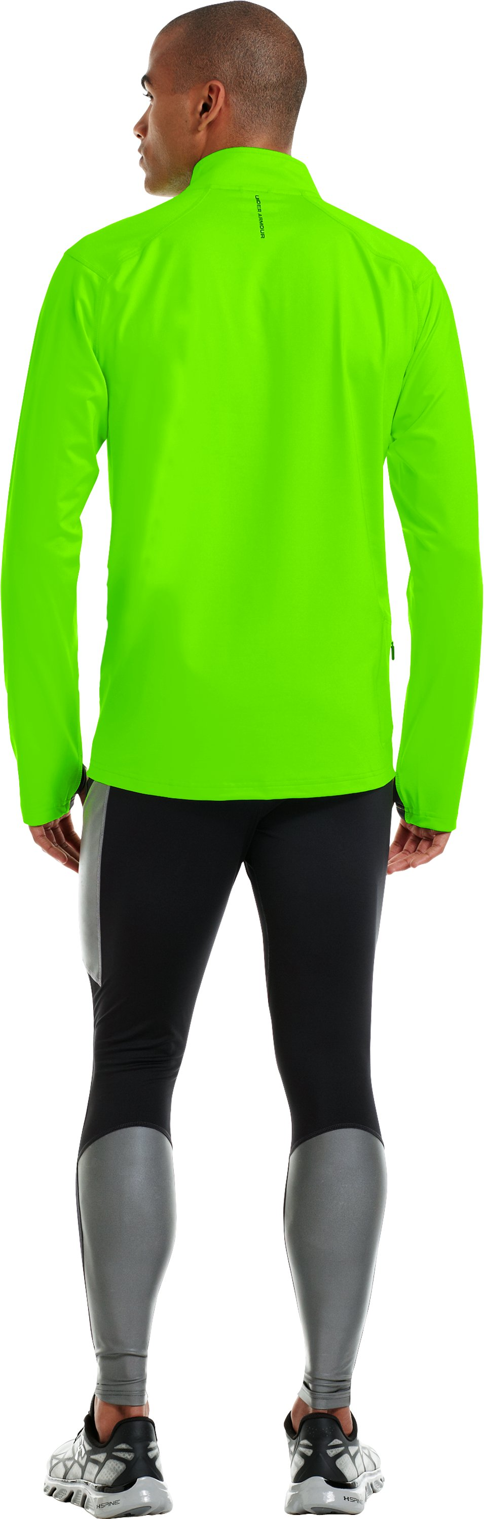 Men's UA Stealth Run Storm ¼ Zip, HYPER GREEN, Back