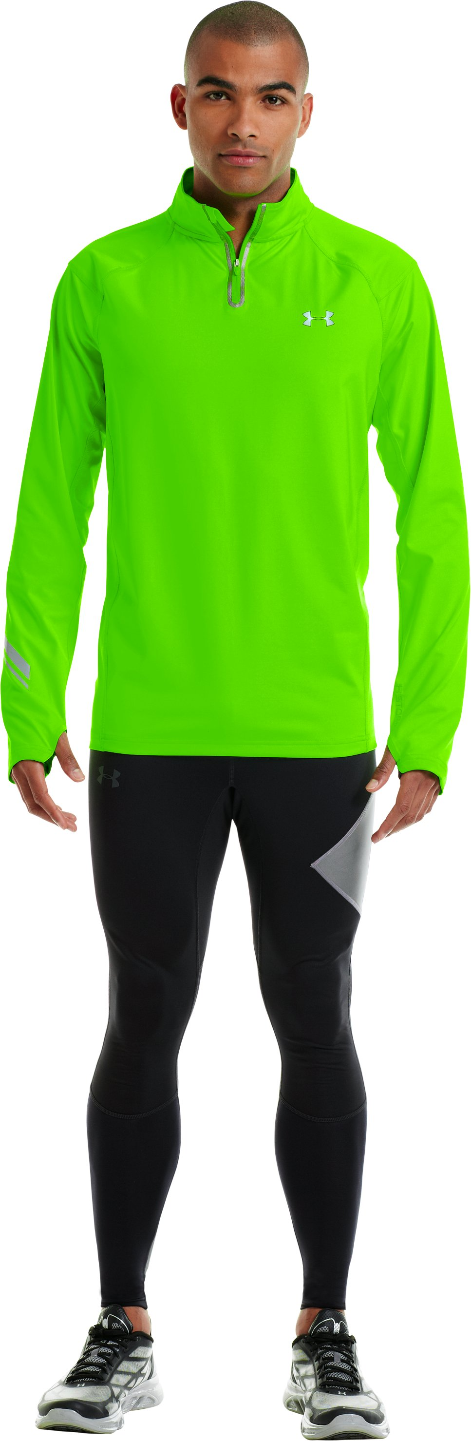 Men's UA Stealth Run Storm ¼ Zip, HYPER GREEN, zoomed image