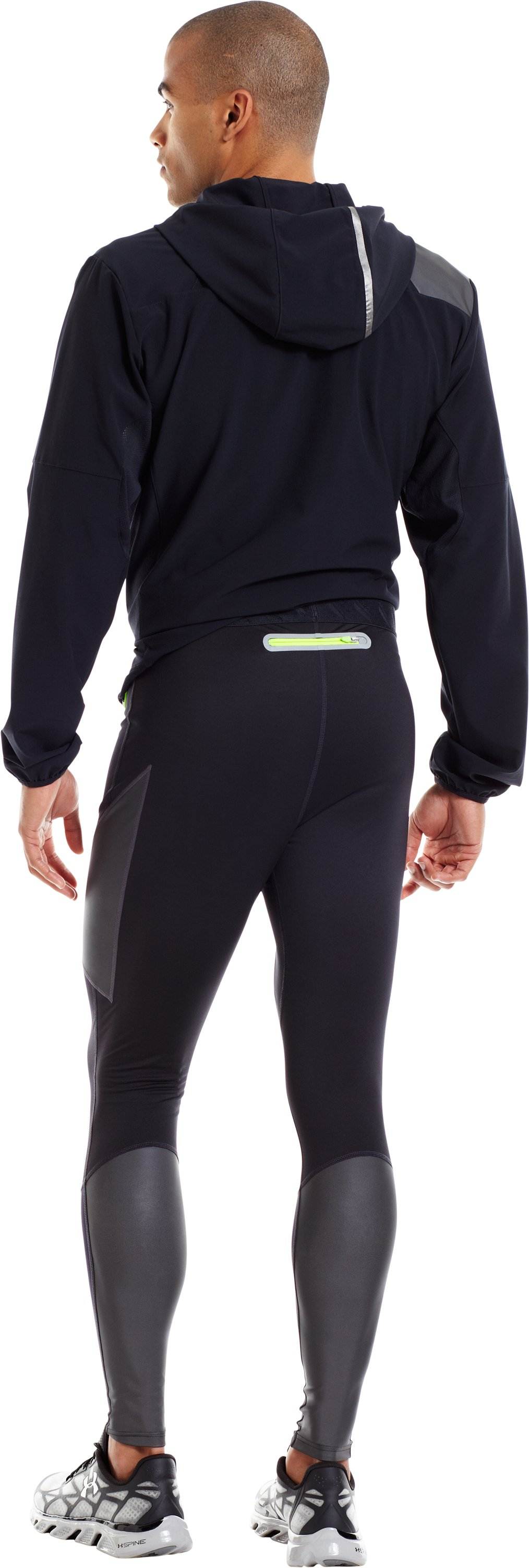 Men's UA Stealth Run Storm Tights, Black , Back