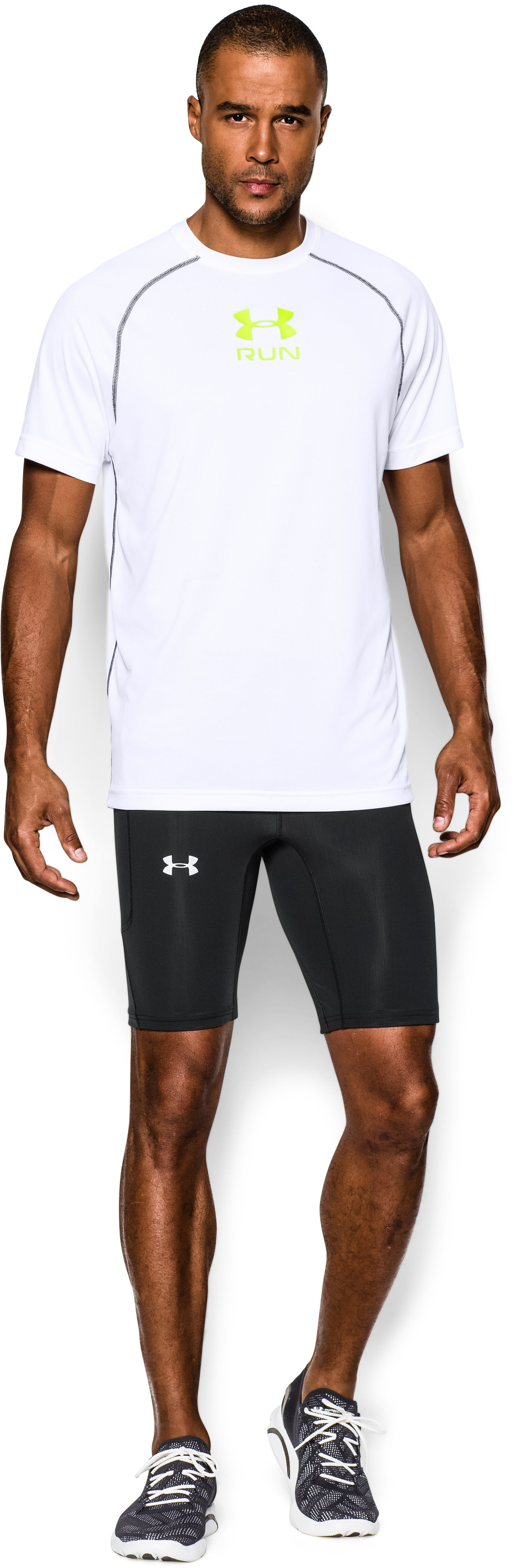 Men's UA Run Compression Shorts, Black , Front
