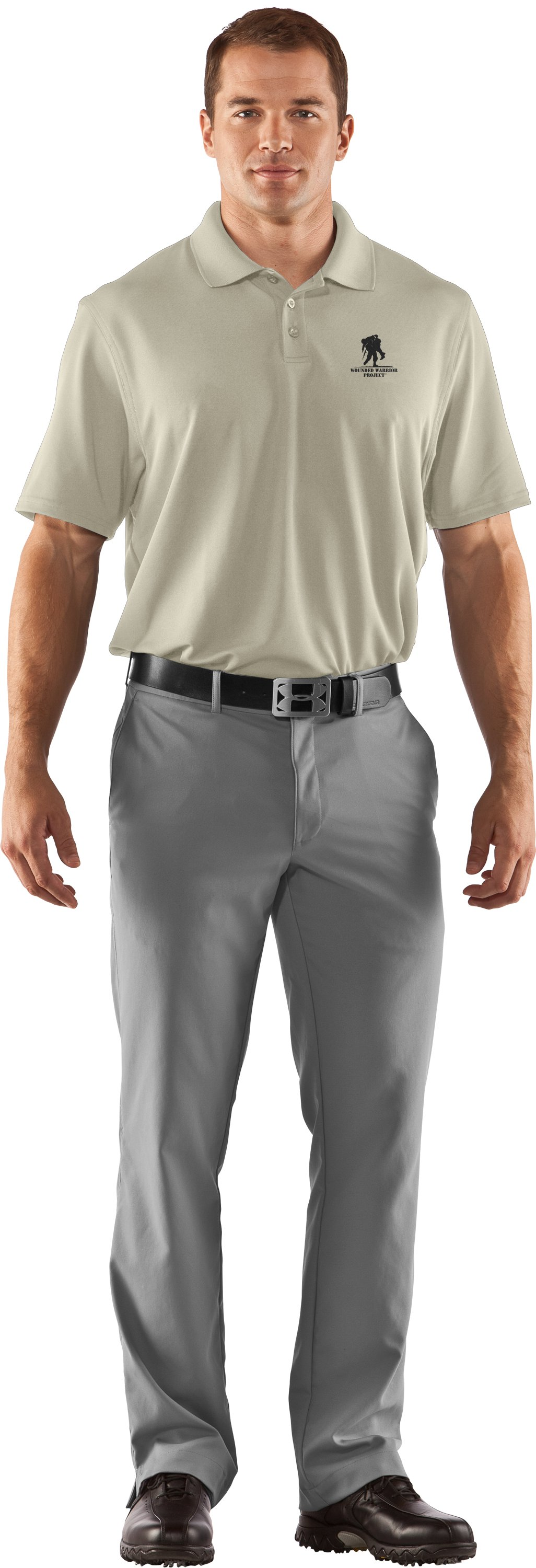 Men's UA WWP Performance Polo, Desert Sand, Front