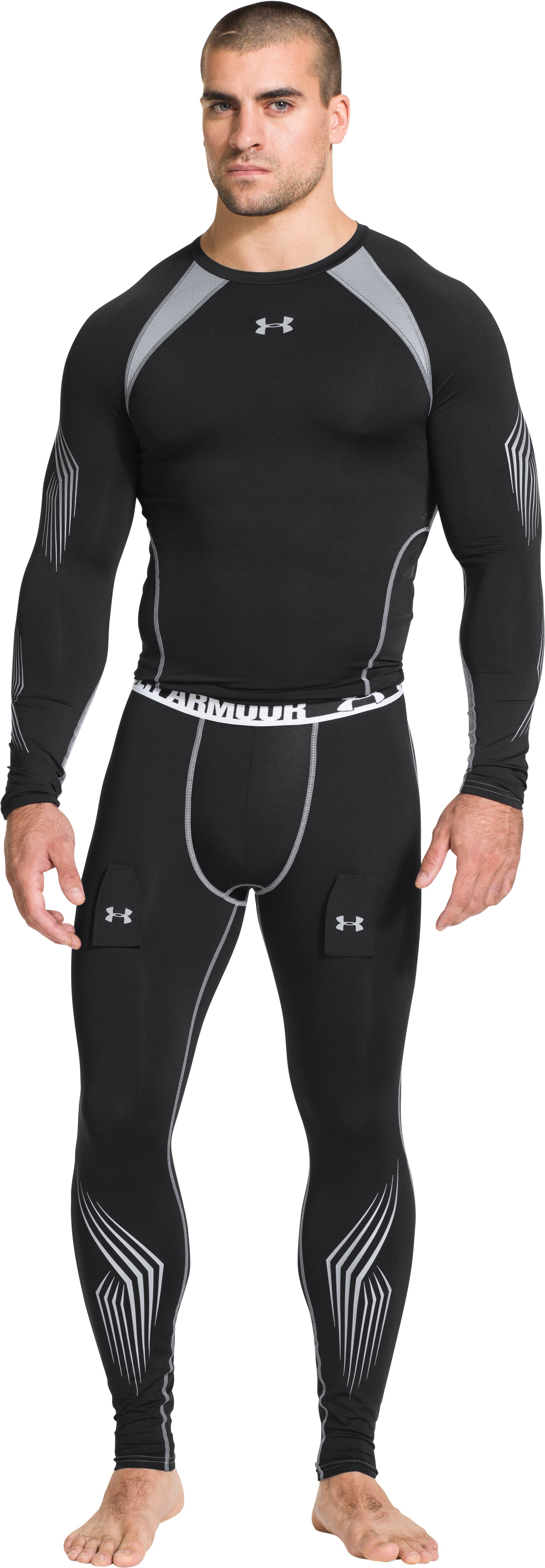 Men's UA Hockey Grippy Compression Top, Black , Front