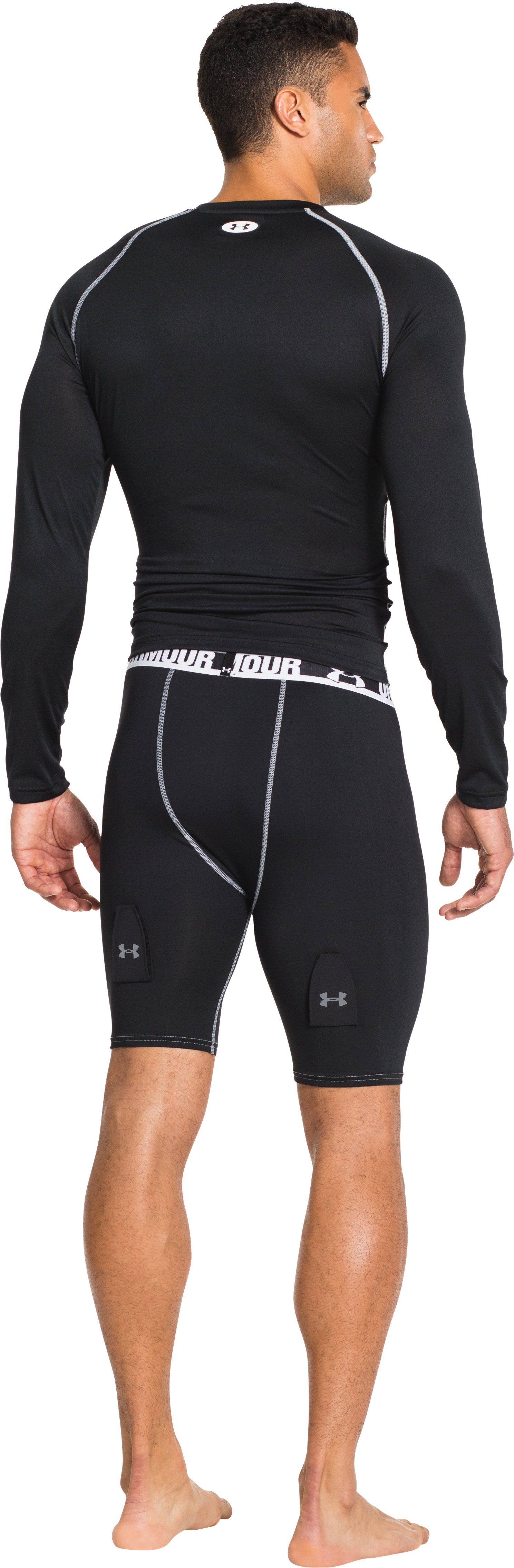 Men's UA Hockey Grippy Compression Shorts W/ Cup, Black , Back