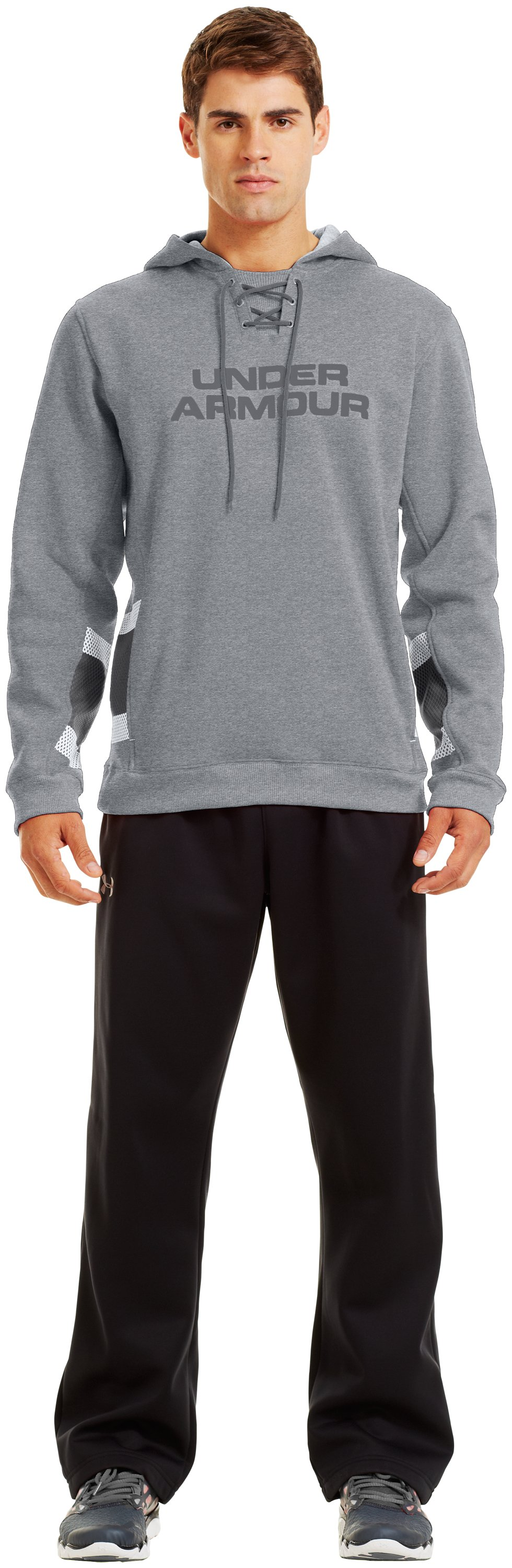 Men's Charged Cotton® Storm Chuck-A-Puck Hoodie, True Gray Heather, Front