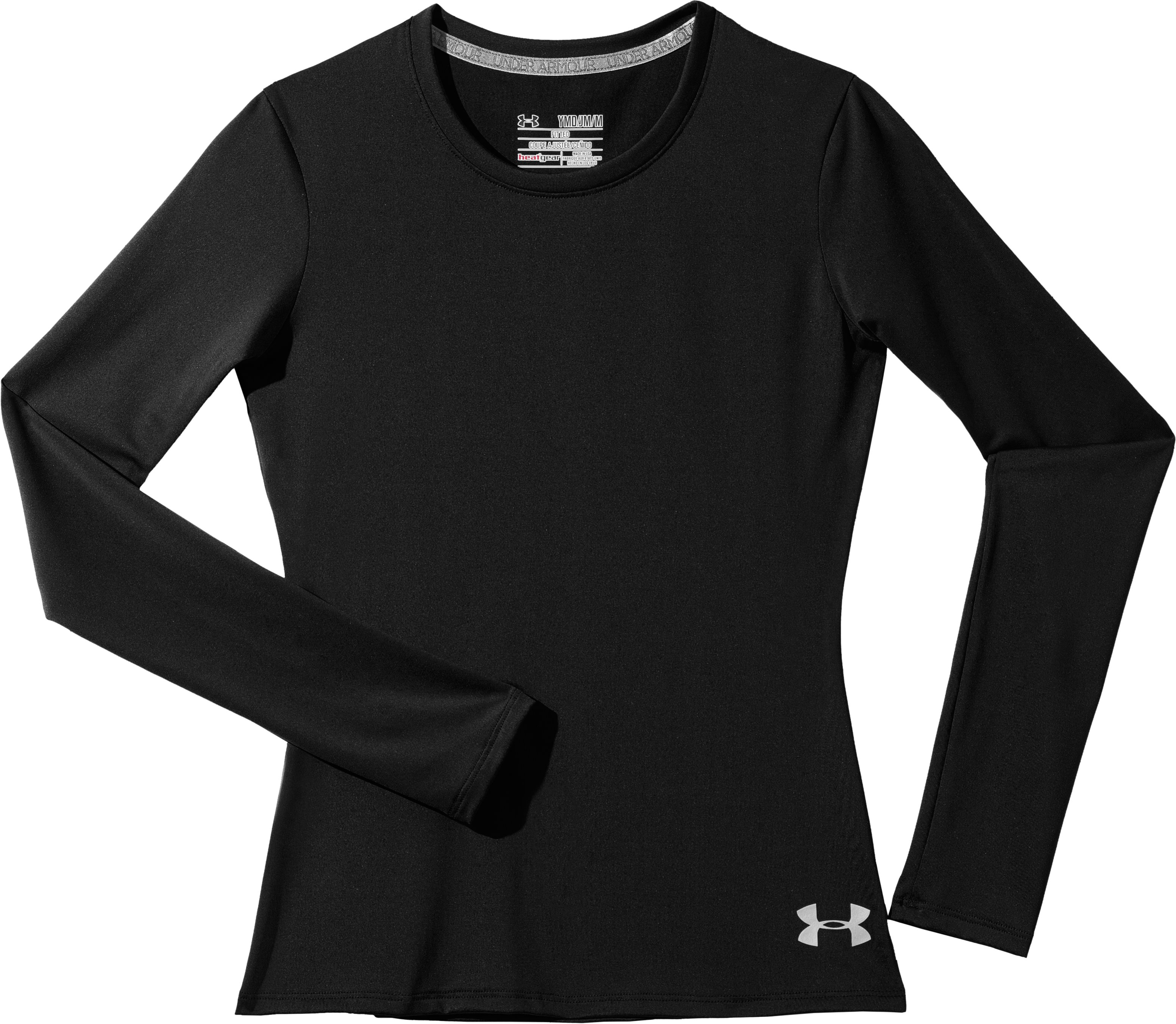 Girls' HeatGear® Sonic Long Sleeve, Black , Laydown
