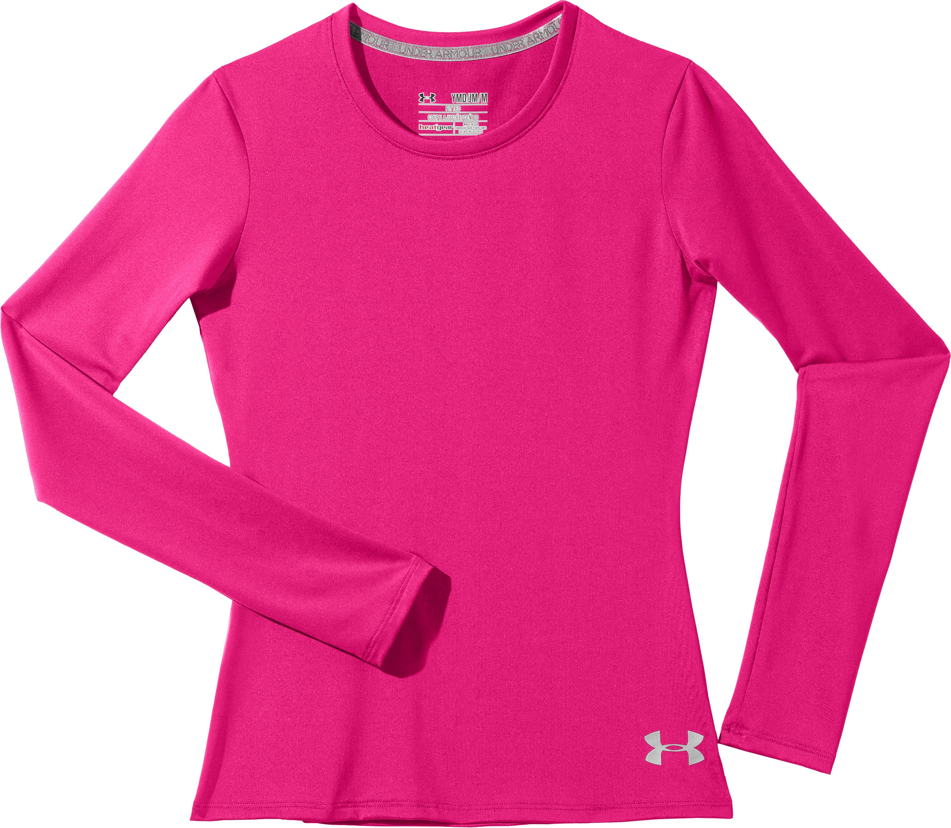 Girls' HeatGear® Sonic Long Sleeve, PINKADELIC, Laydown
