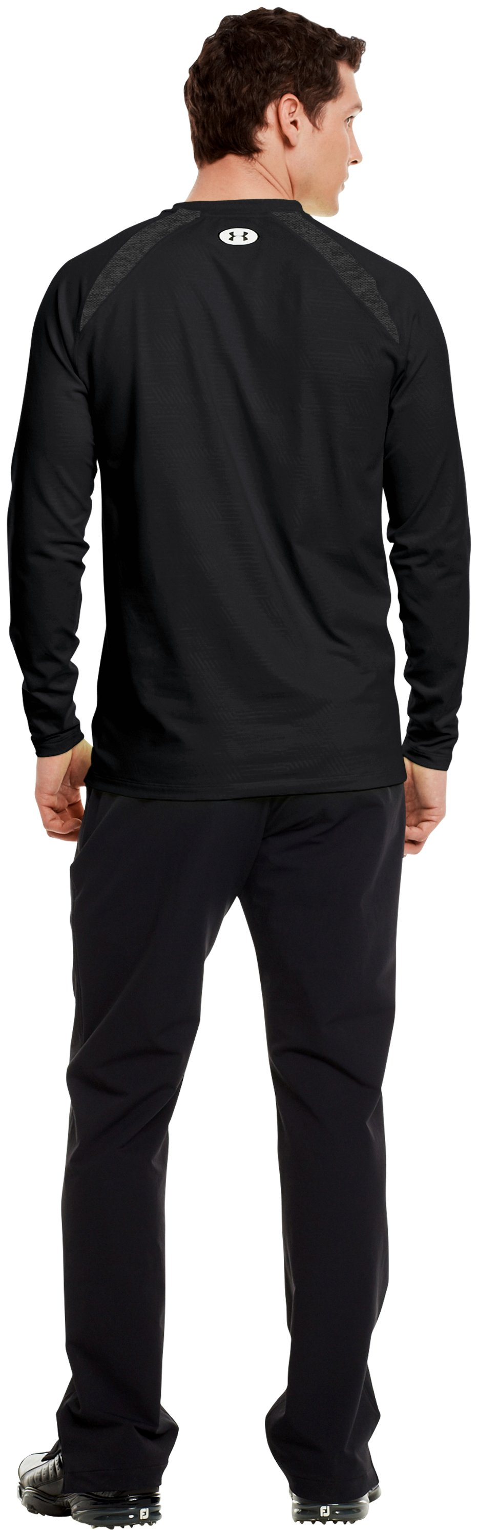 Men's UA Golf ColdGear® Fitted Crew, Black , Back
