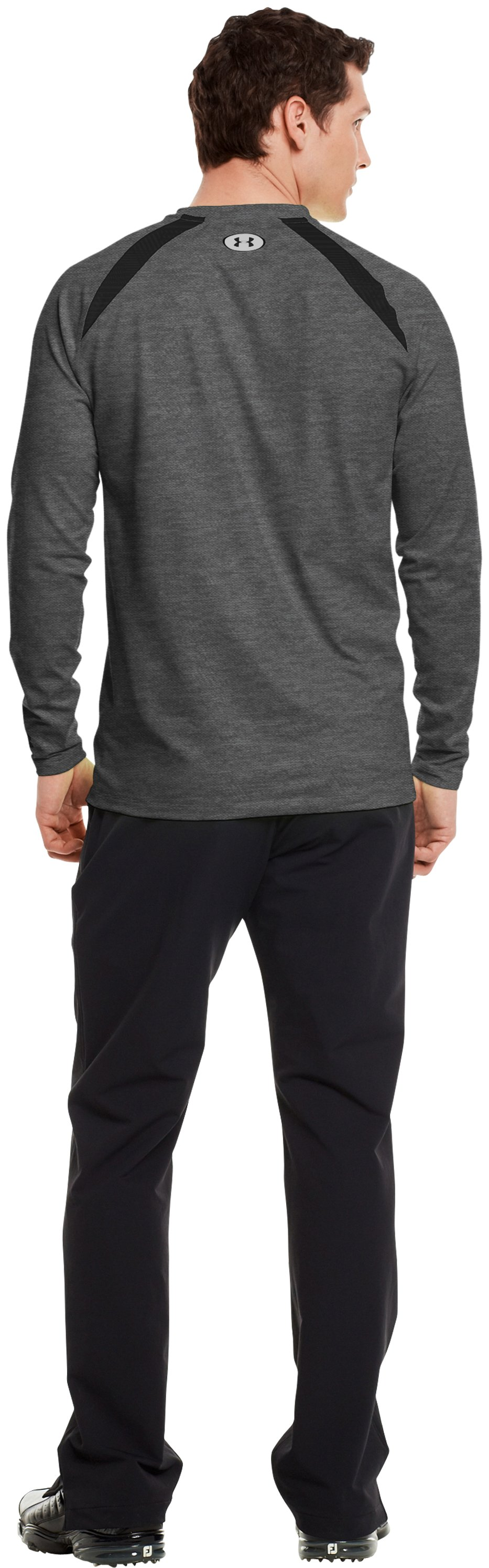 Men's UA Golf ColdGear® Fitted Crew, Carbon Heather, Back