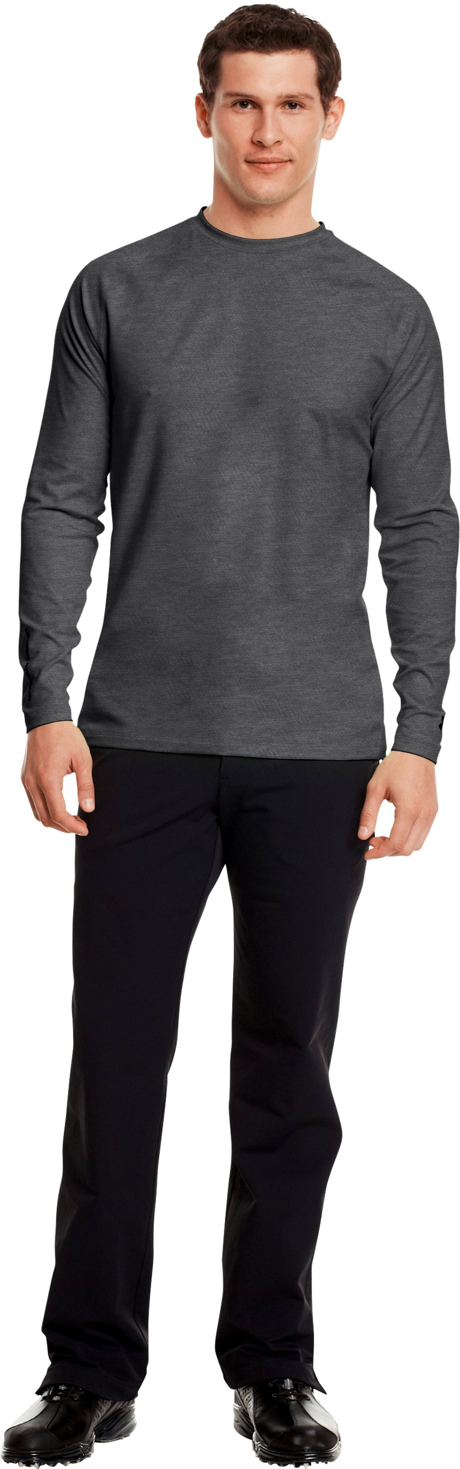 Men's UA Golf ColdGear® Fitted Crew, Carbon Heather