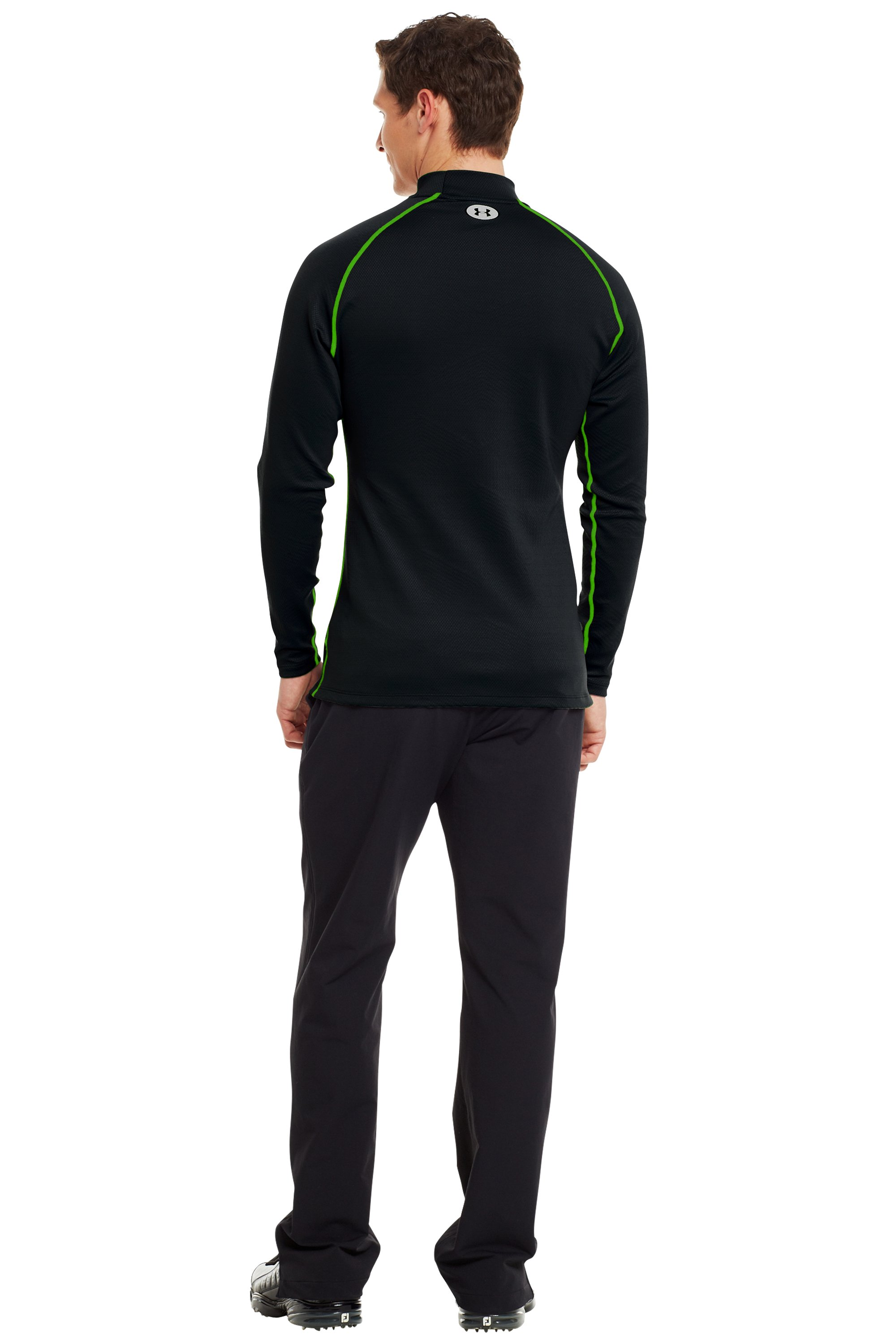 Men's ColdGear® Infrared Thermo Golf Mock, Black , Back