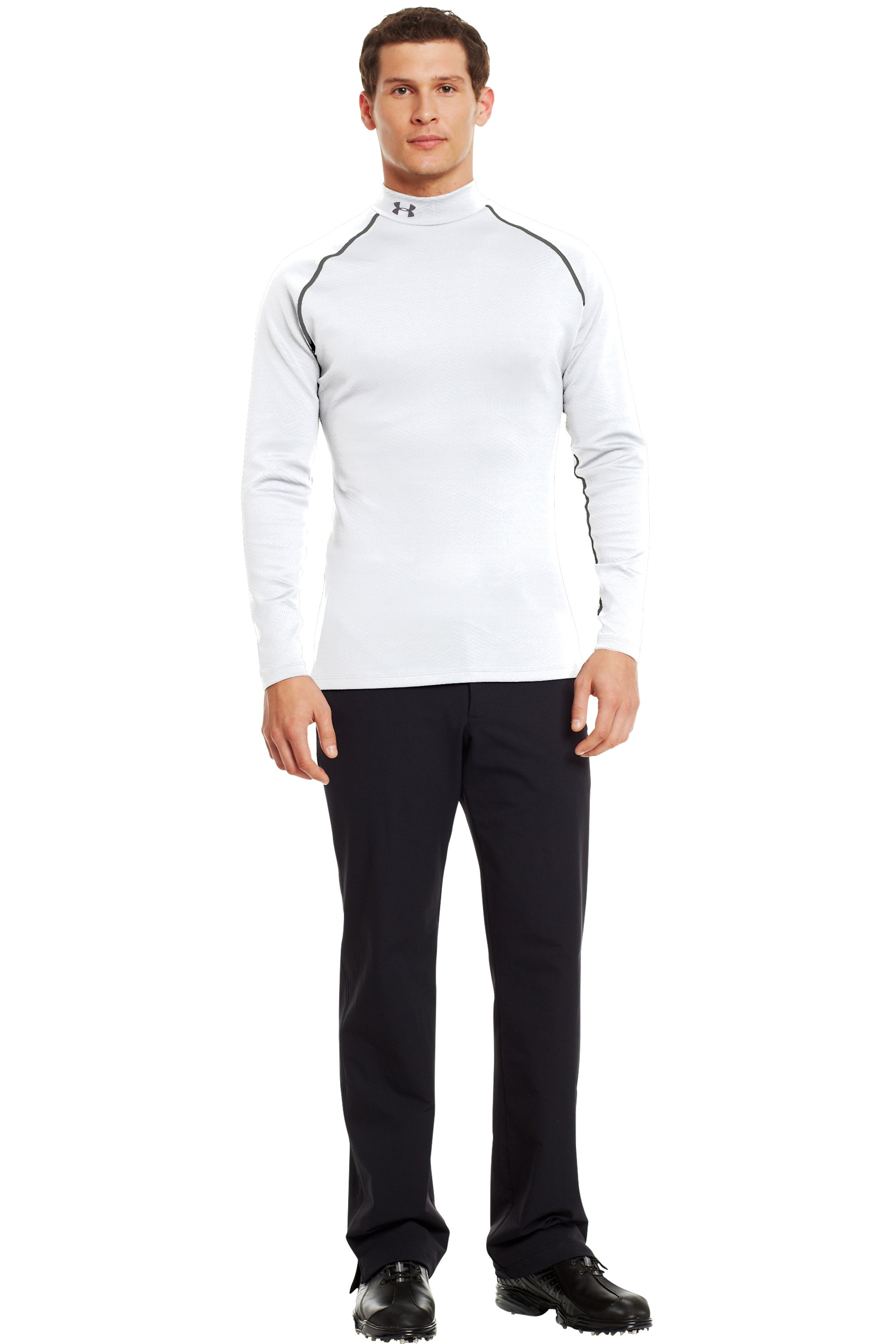 Men's ColdGear® Infrared Thermo Golf Mock, White, Front