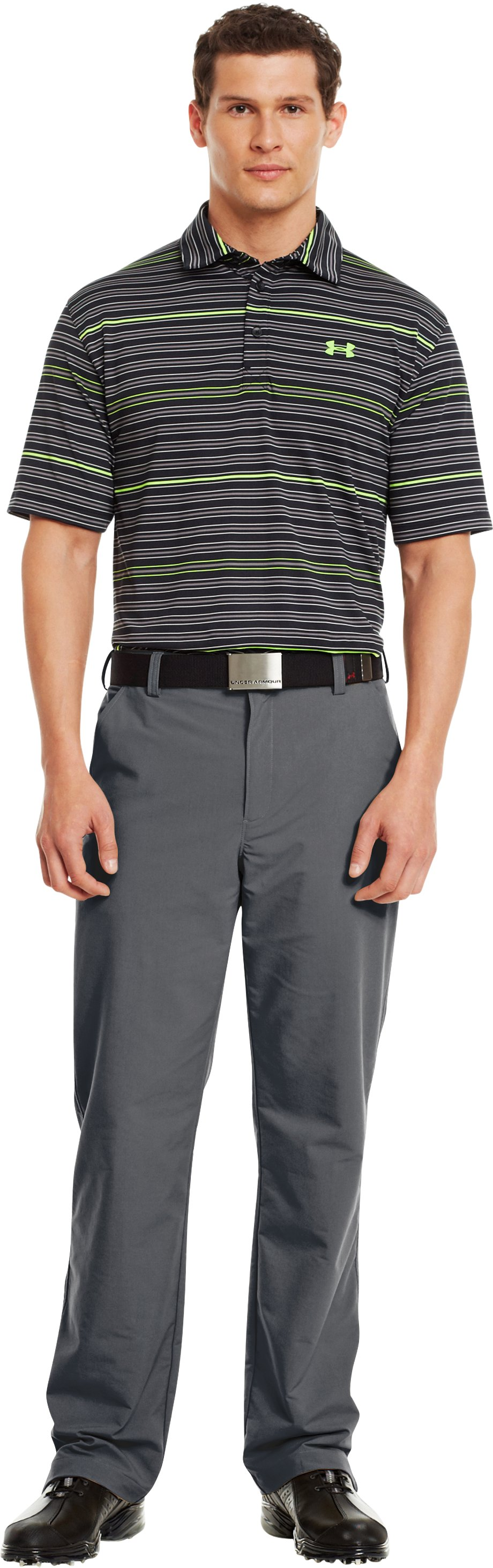 Men's UA Performance Stripe Polo, Black , Front