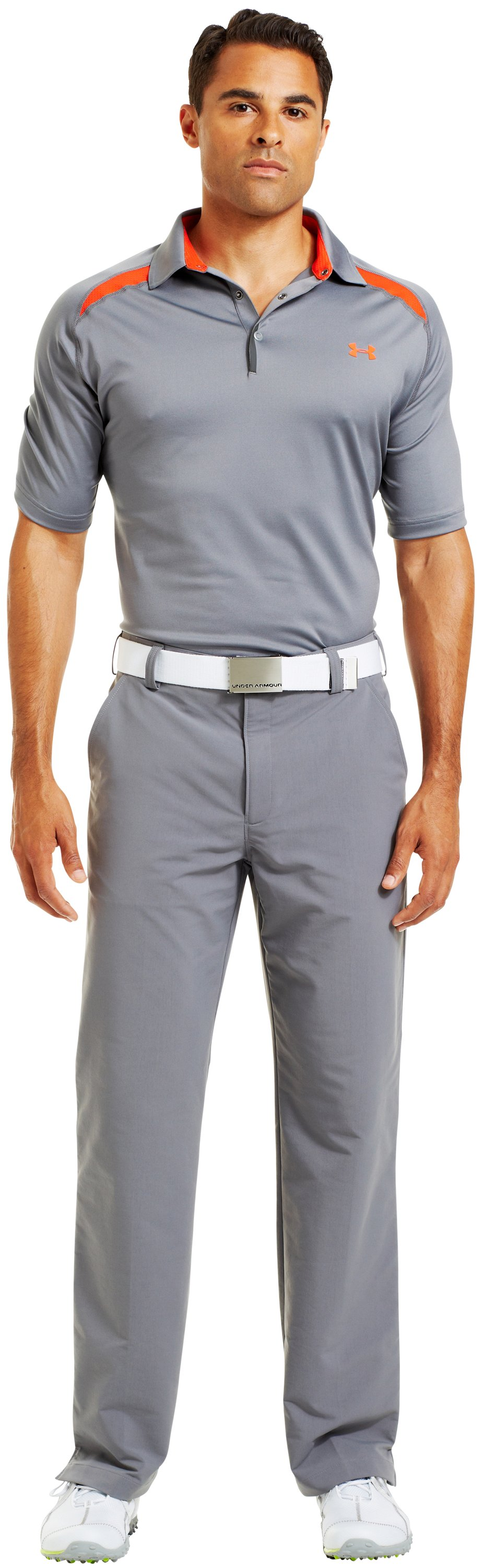 Men's UA Operative Colorblock Polo, Graphite, zoomed image