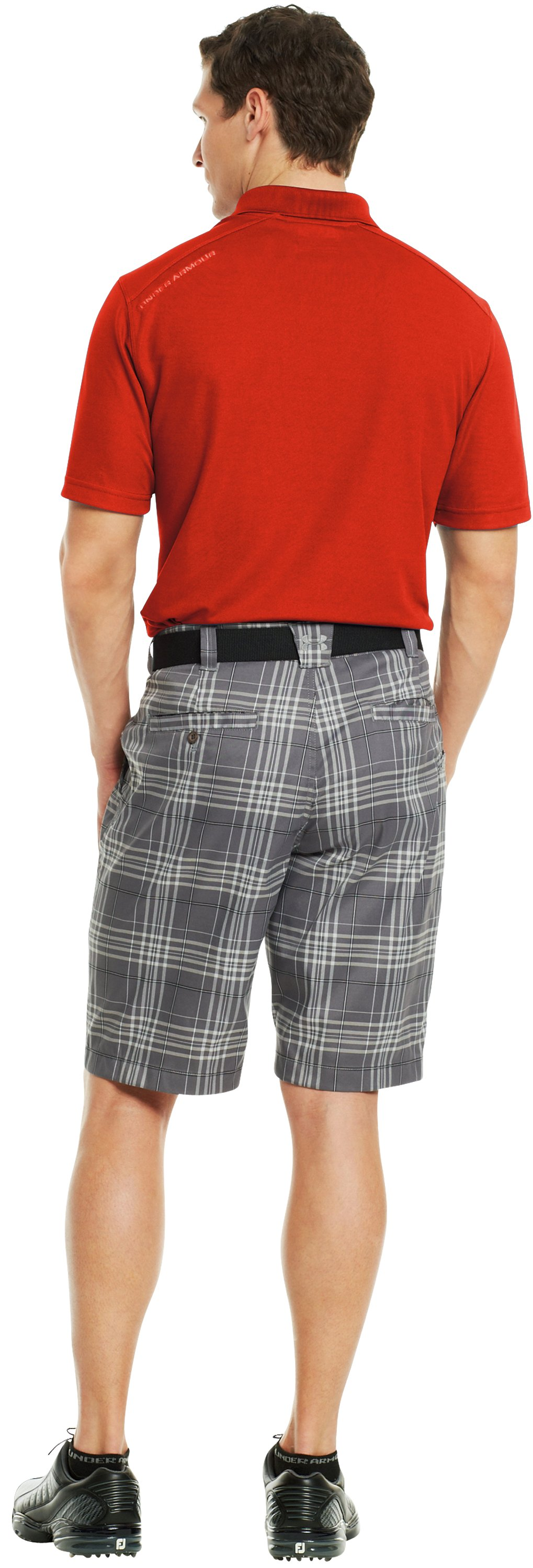 Men's UA Forged Plaid Golf Shorts 3.5, Graphite, Back