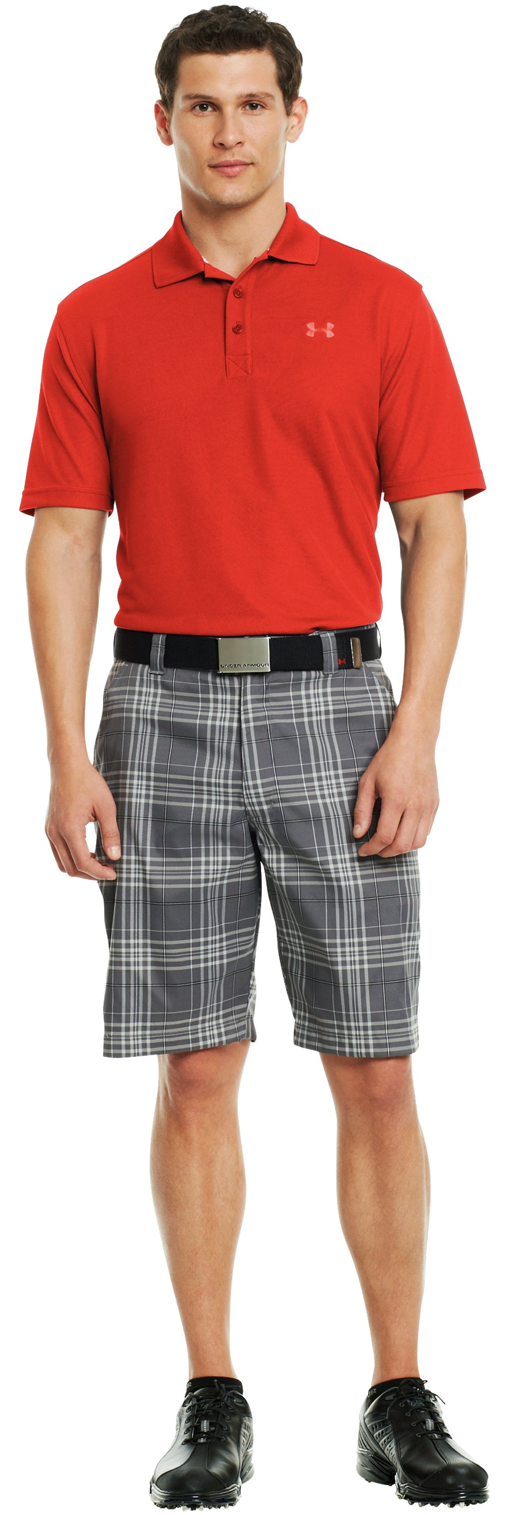 Men's UA Forged Plaid Golf Shorts 3.5, Graphite, zoomed image