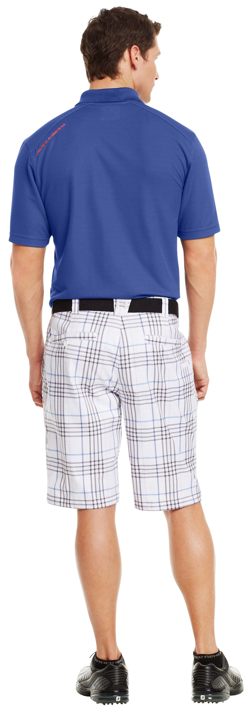 Men's UA Forged Plaid Golf Shorts 3.5, White, Back