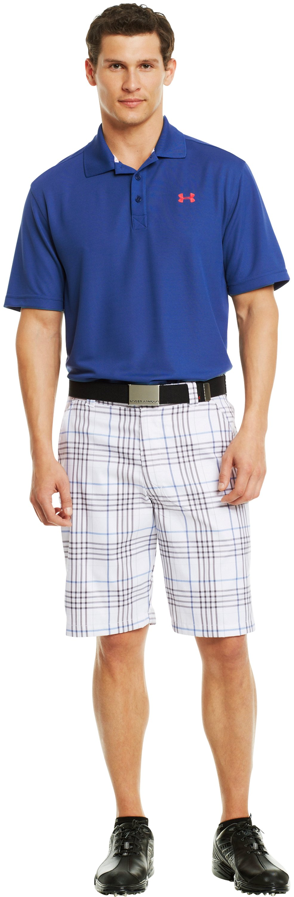 Men's UA Forged Plaid Golf Shorts 3.5, White