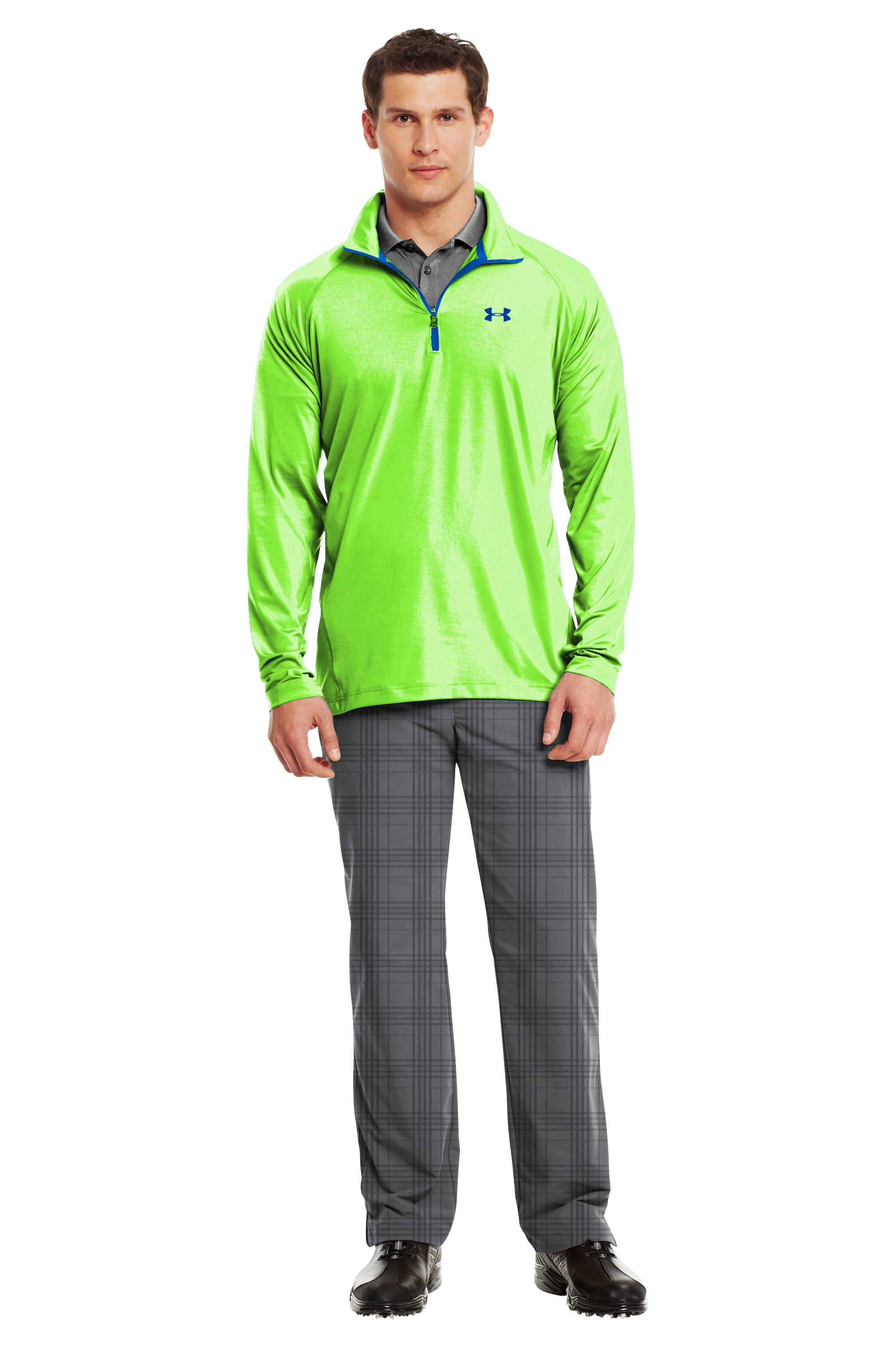 Men's UA Golf Lightweight ¼ Zip, HYPER GREEN, Front