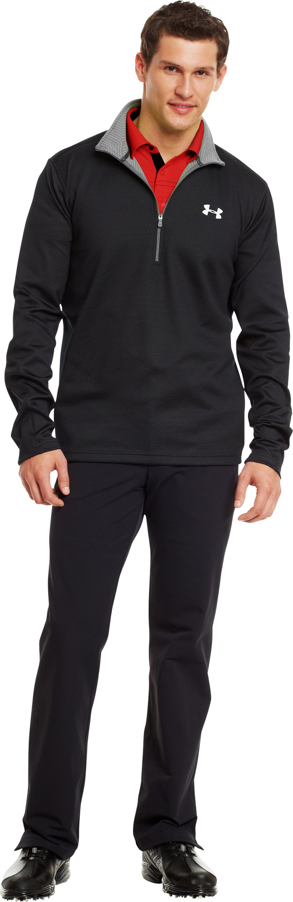 Men's ColdGear® Infrared Thermo Golf ½ Zip, Black , zoomed image