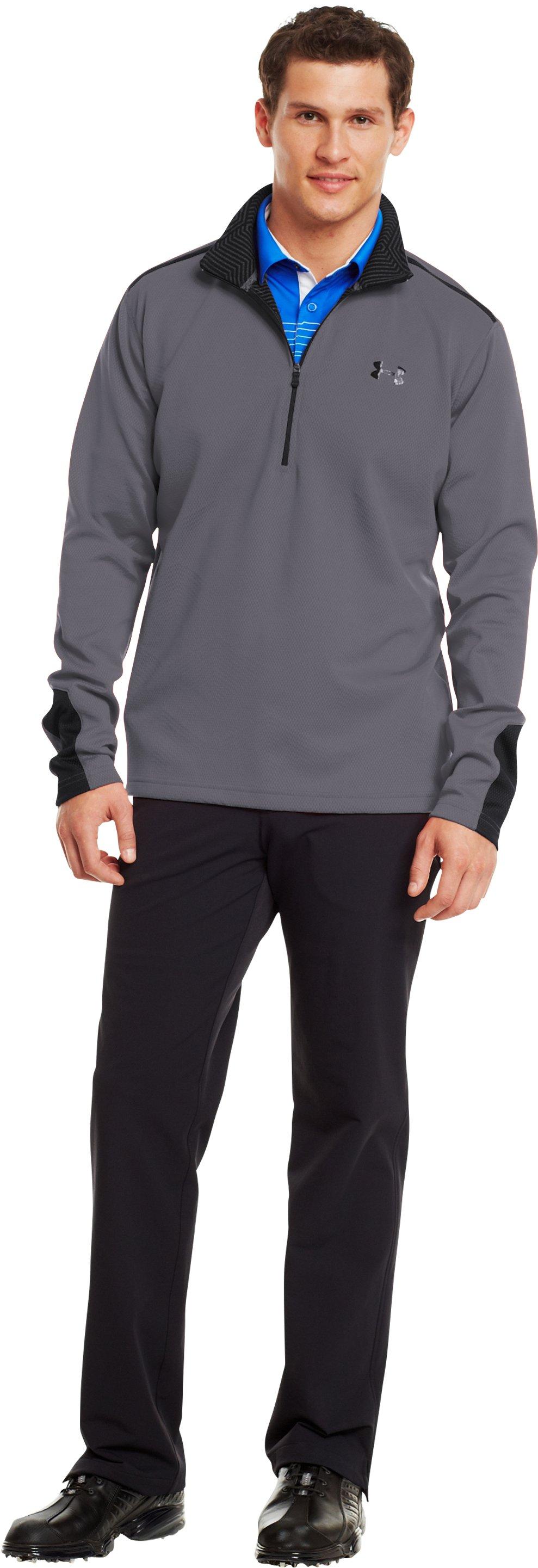 Men's ColdGear® Infrared Thermo Golf ½ Zip, Graphite, zoomed image