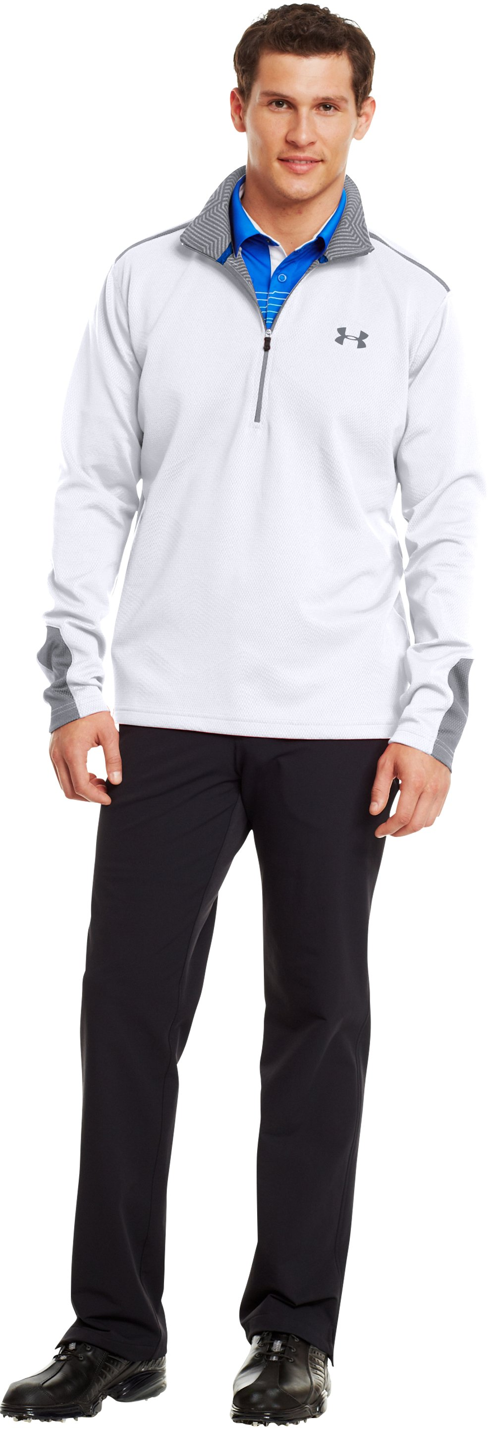 Men's ColdGear® Infrared Thermo Golf ½ Zip, White, Front