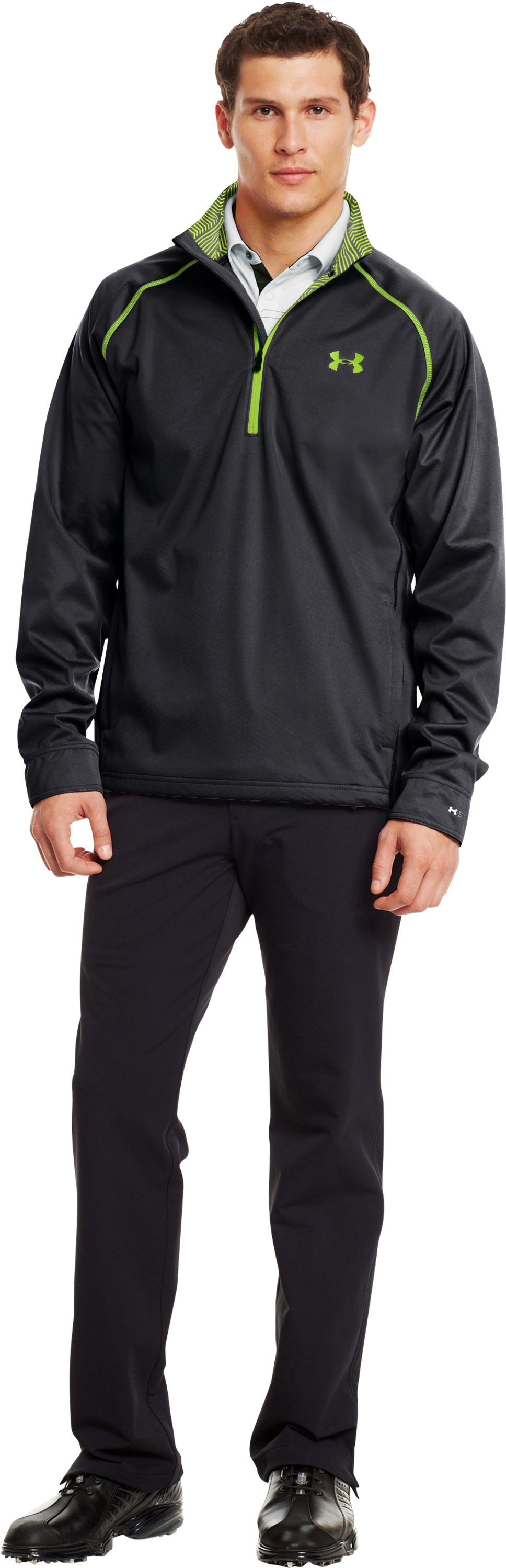 Men's ColdGear® Infrared Elements Storm ½ Zip Jacket, Black , Front