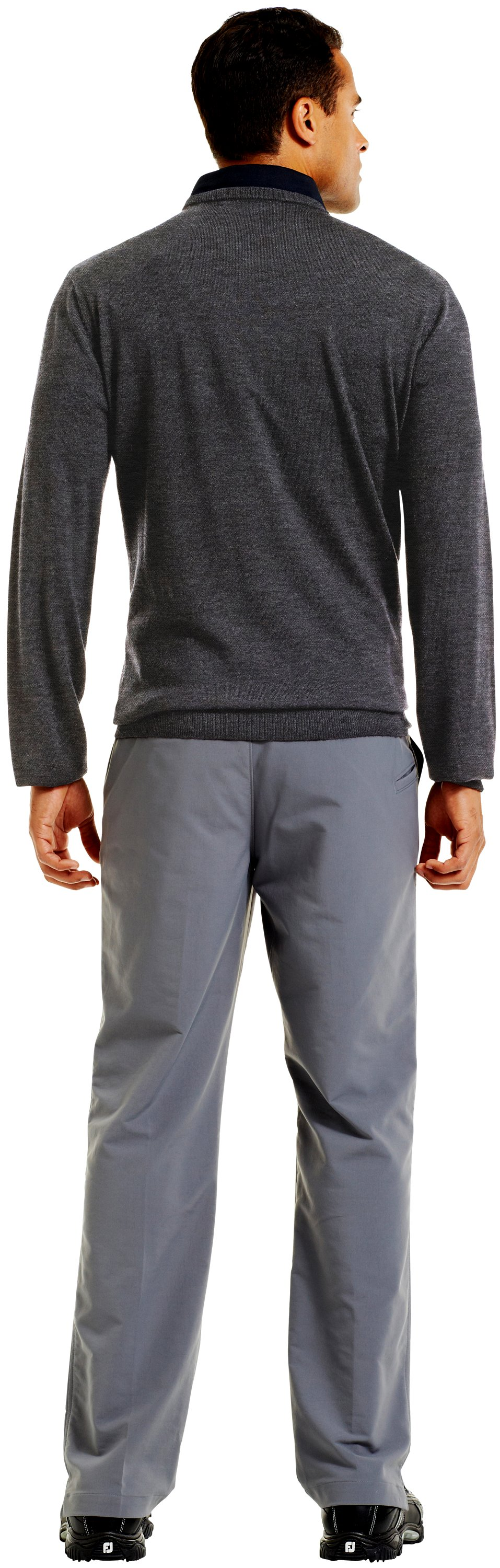 Men's UA V-Neck Sweater, Carbon Heather, Back
