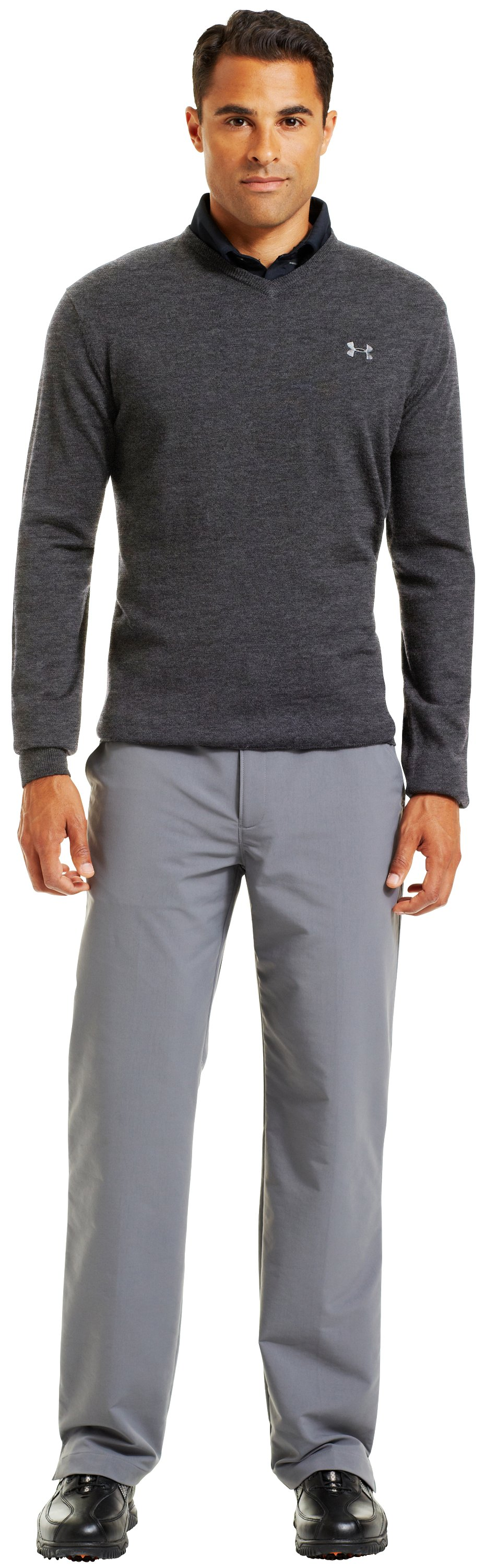 Men's UA V-Neck Sweater, Carbon Heather, Front