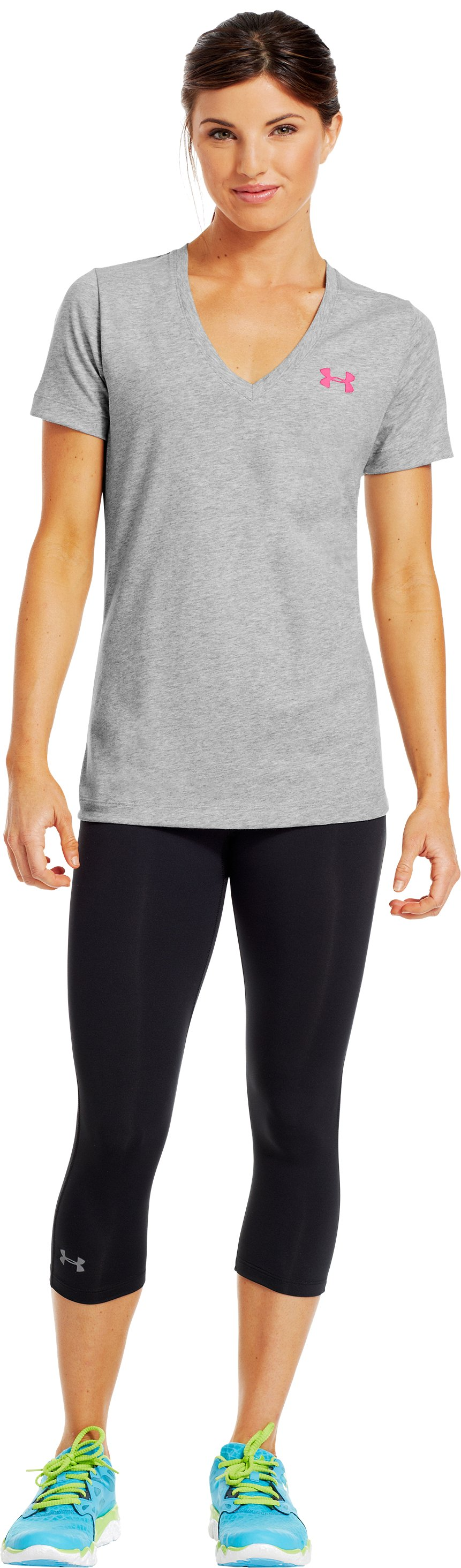 Women's UA PIP® Support Give Fight V-Neck, True Gray Heather, Front
