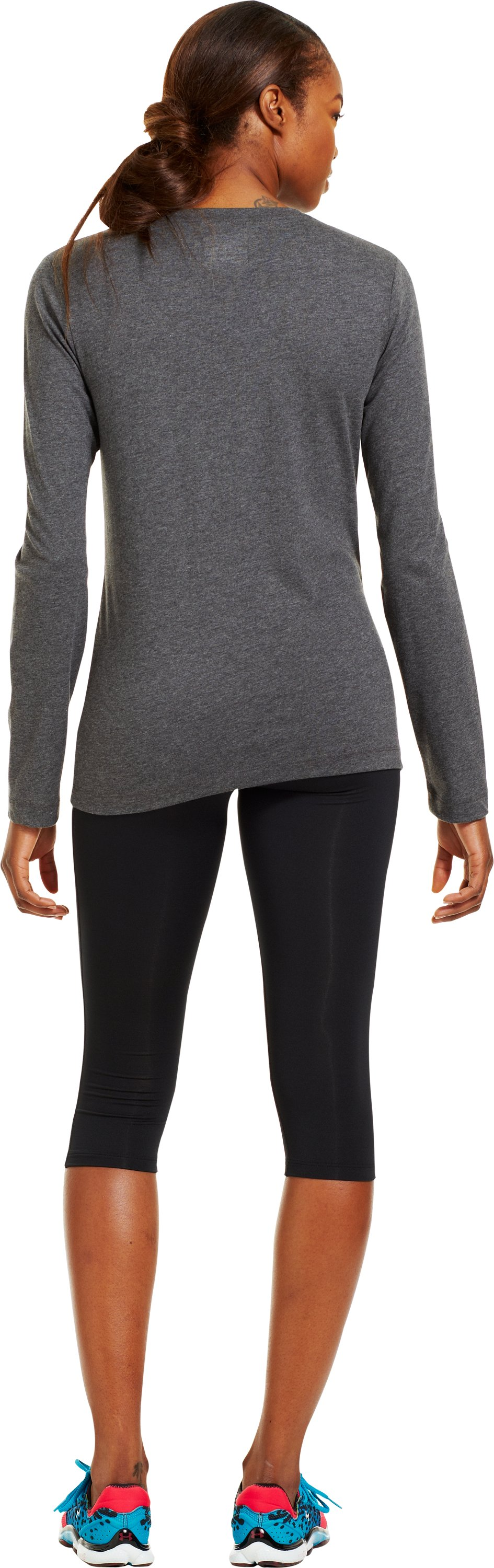 Women's UA PIP® One Woman Army Long Sleeve, Carbon Heather, Back