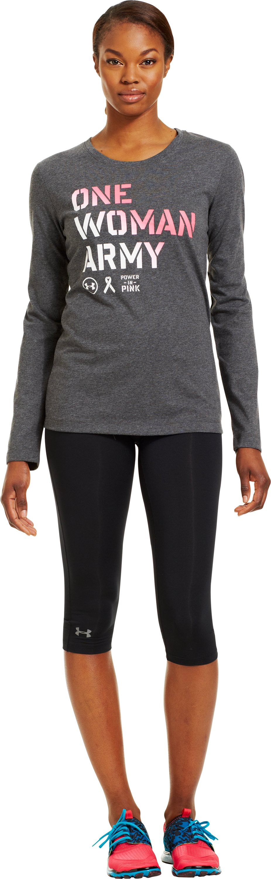 Women's UA PIP® One Woman Army Long Sleeve, Carbon Heather, Front