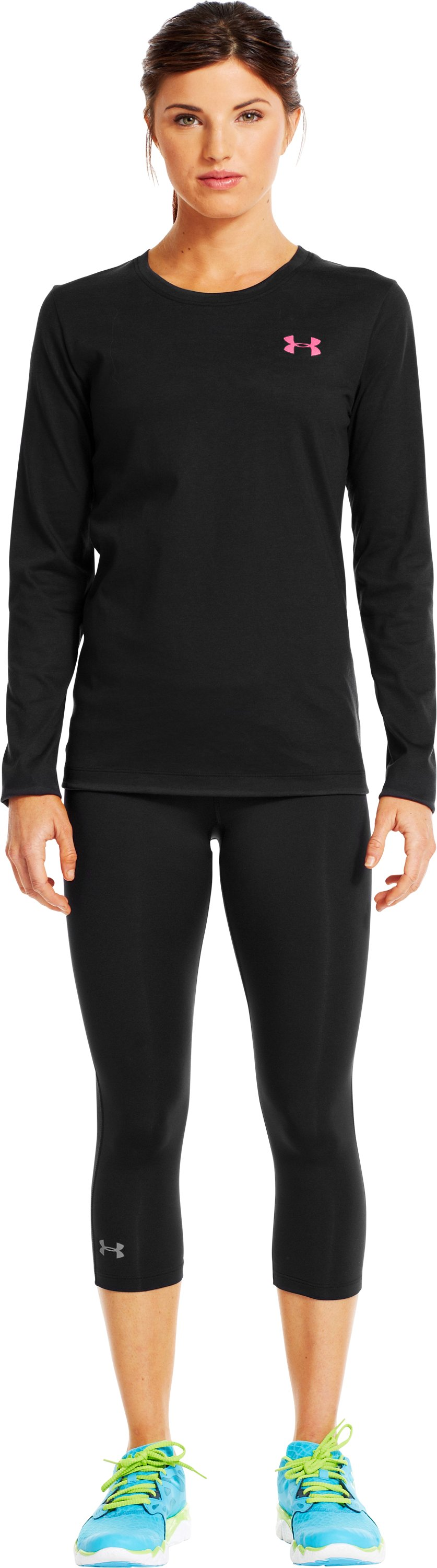 Women's UA PIP® Gradient Flock Long Sleeve, Black , Front