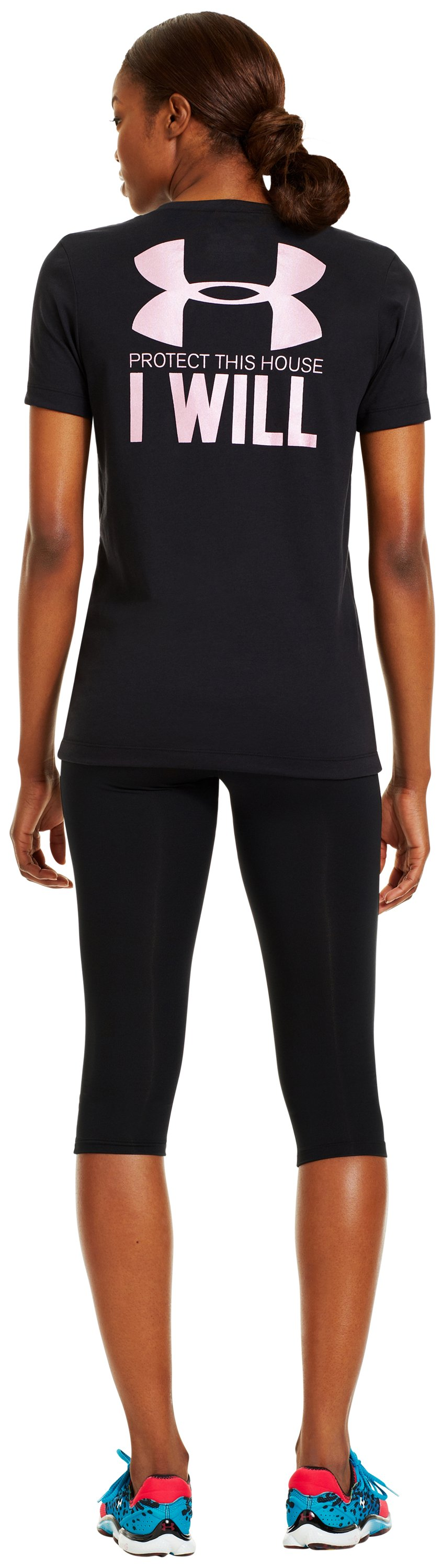 Women's UA PTH® I WILL® V-Neck, Black , Back