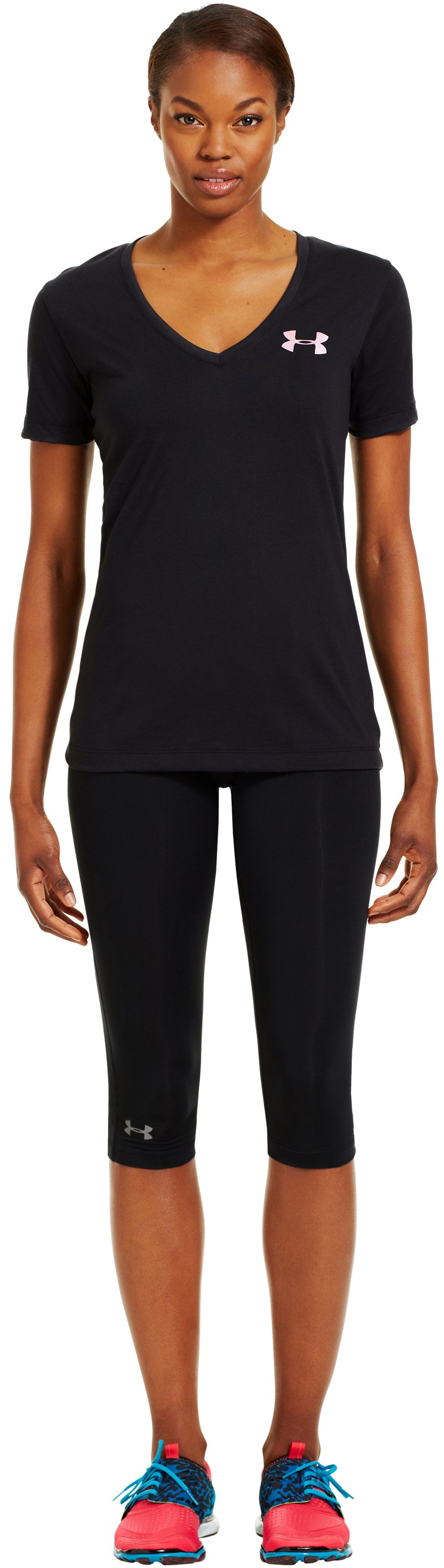 Women's UA PTH® I WILL® V-Neck, Black , Front
