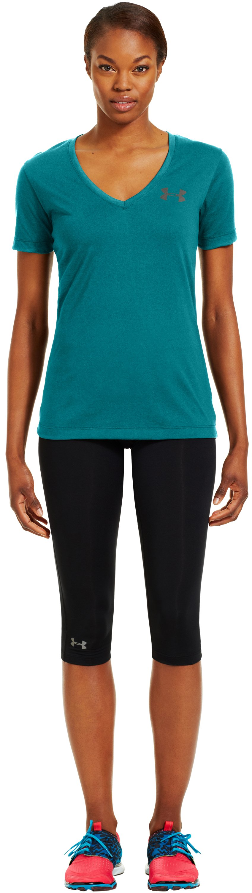 Women's UA PTH® I WILL® V-Neck, CERULEAN, Front
