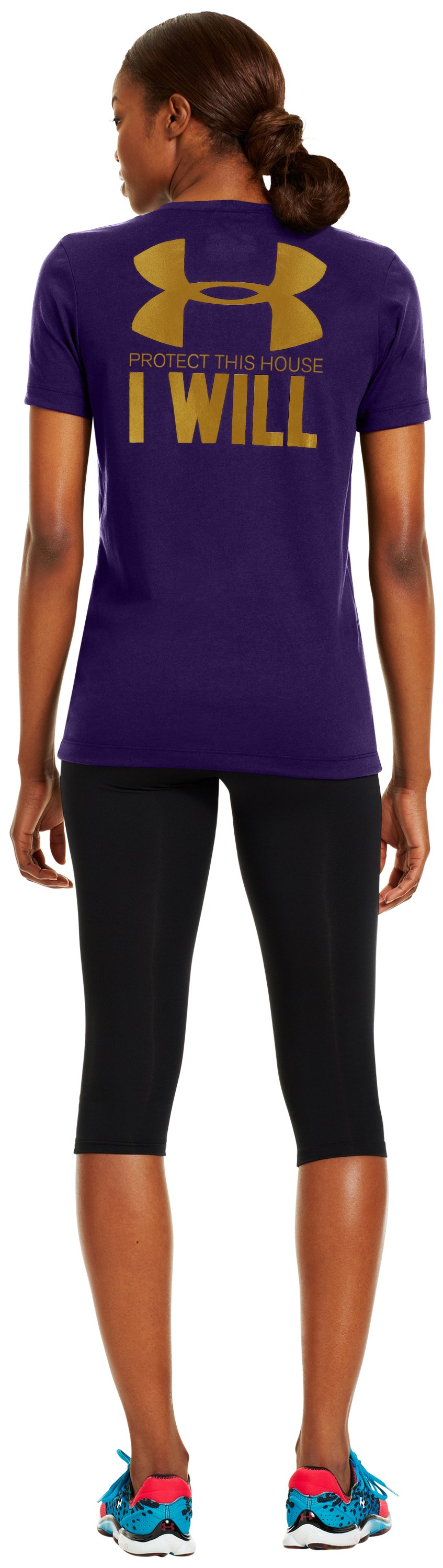 Women's UA PTH® I WILL® V-Neck, Purple Rain, Back
