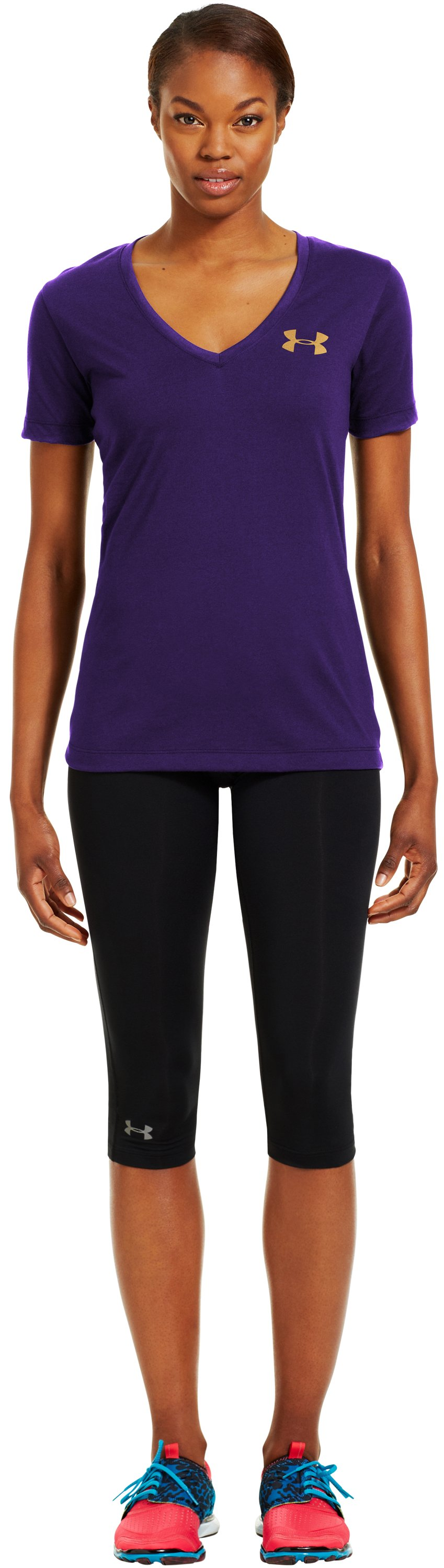 Women's UA PTH® I WILL® V-Neck, Purple Rain, Front