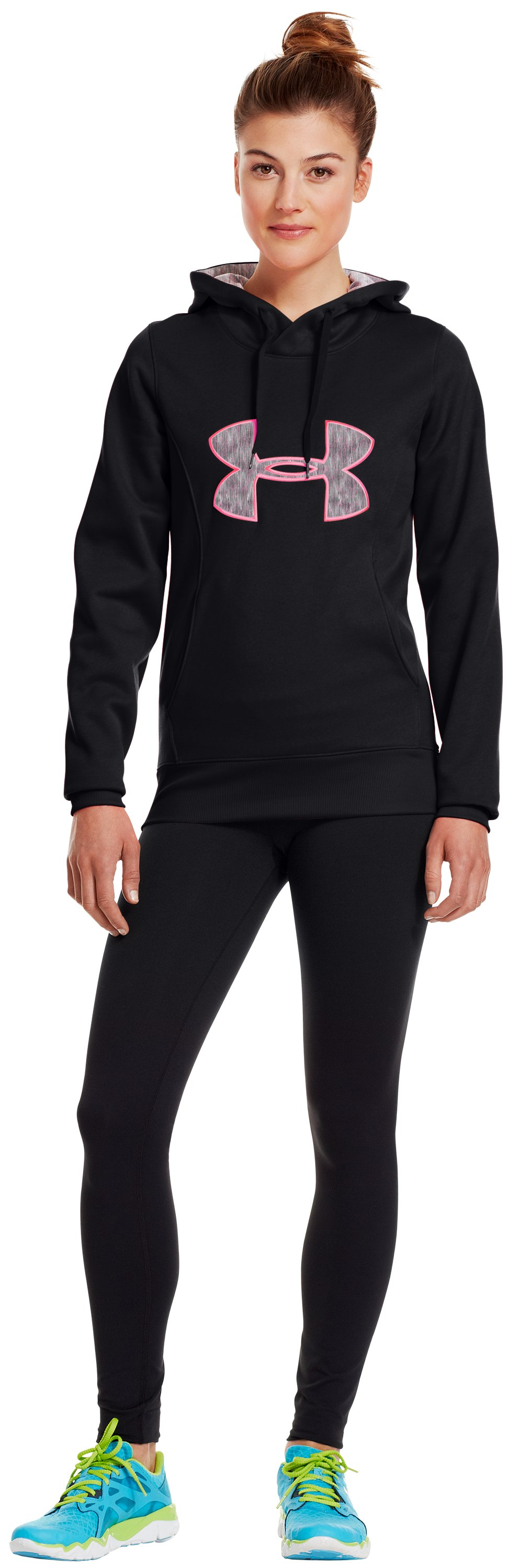 Women's Armour® Fleece Storm Big Logo Hoodie, Black , Front