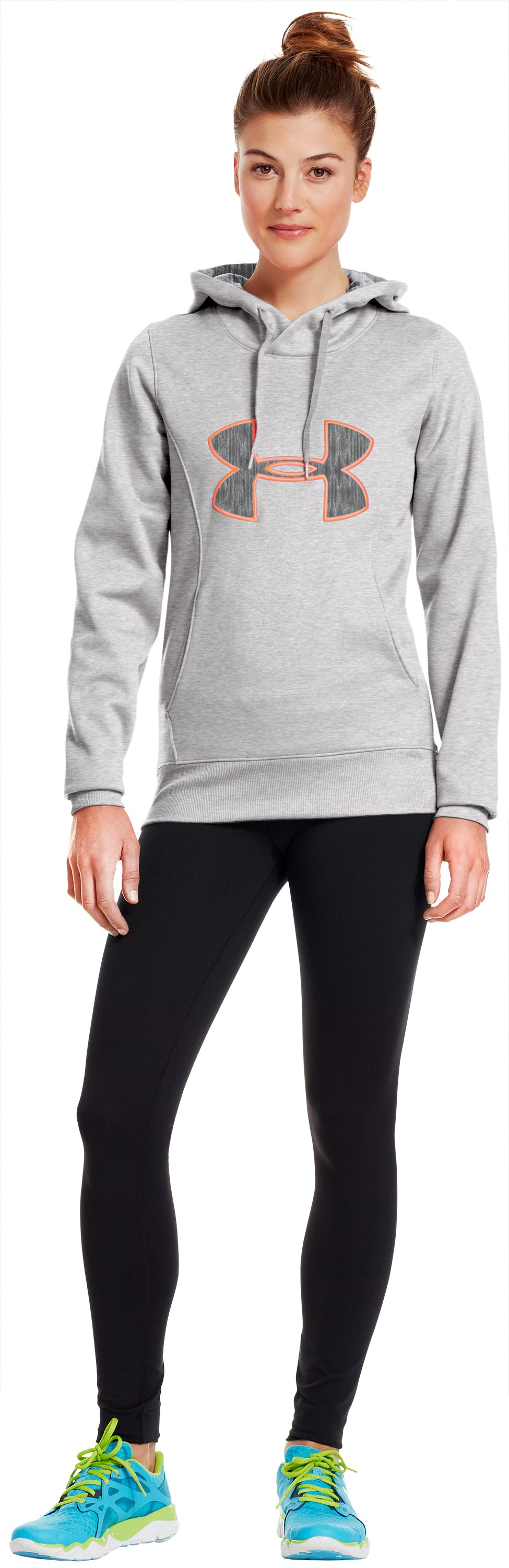 Women's Armour® Fleece Storm Big Logo Hoodie, True Gray Heather, Front