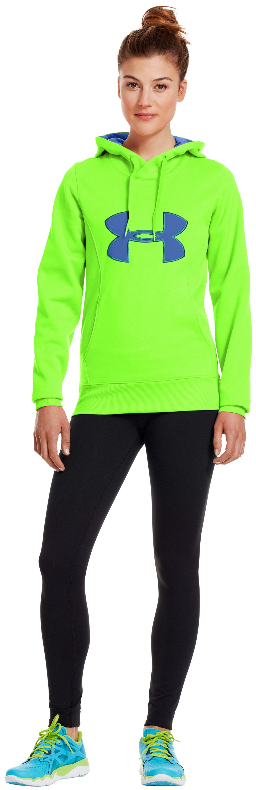 Women's Armour® Fleece Storm Big Logo Hoodie, HYPER GREEN, Front