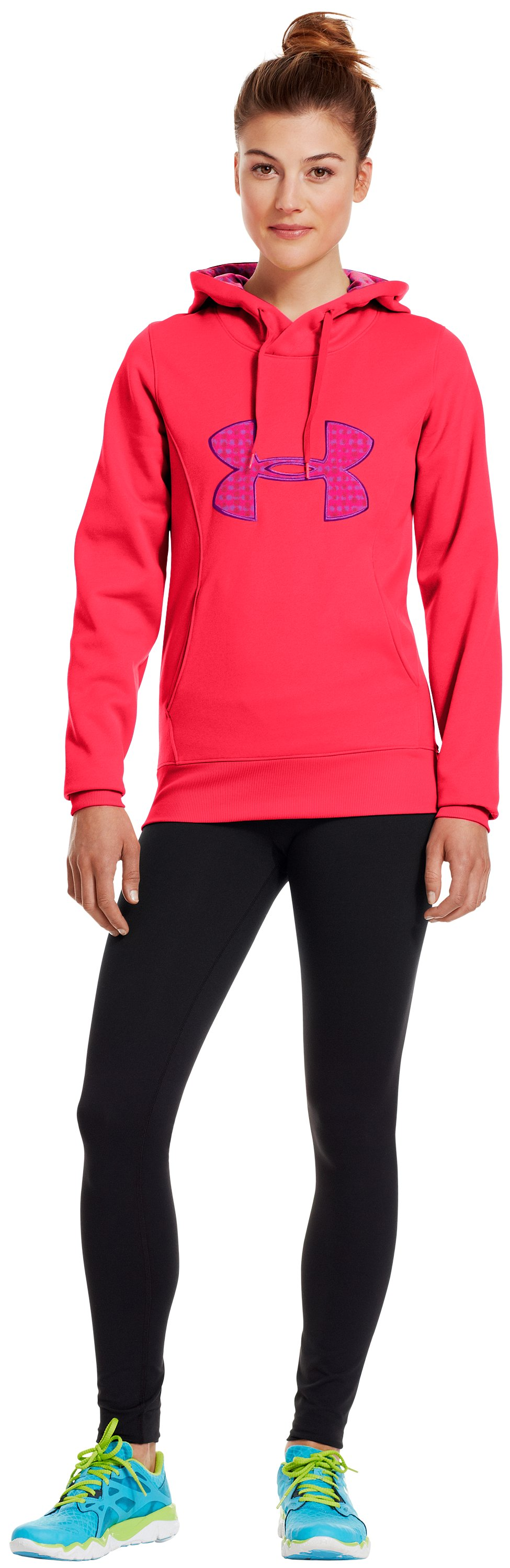 Women's Armour® Fleece Storm Big Logo Hoodie, Neo Pulse, Front