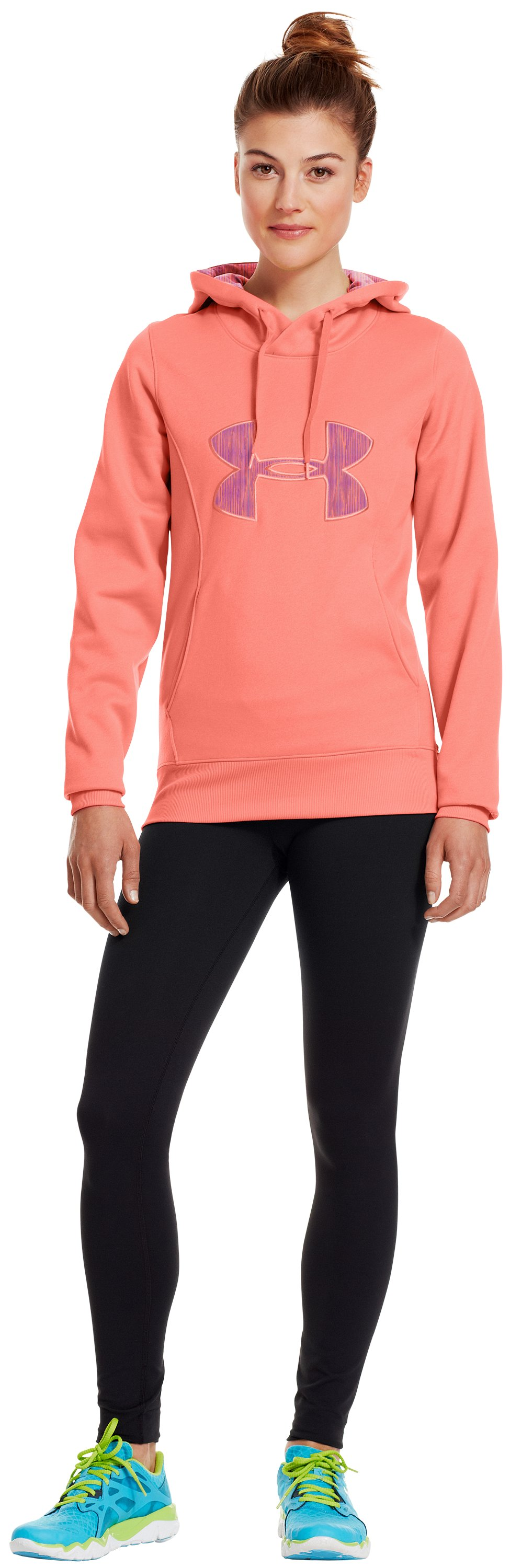Women's Armour® Fleece Storm Big Logo Hoodie, ELECTRIC TANGERINE