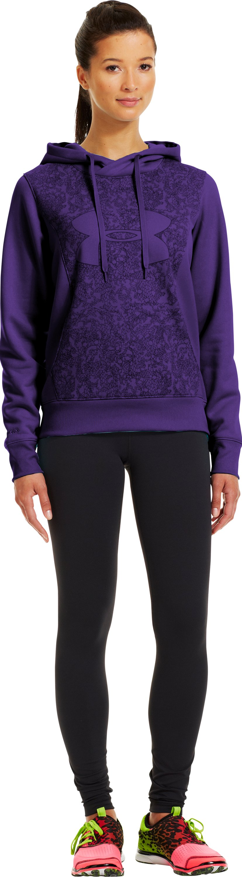 Women's Armour® Fleece Storm Eclipse Big Logo Hoodie, Purple Rain, Front