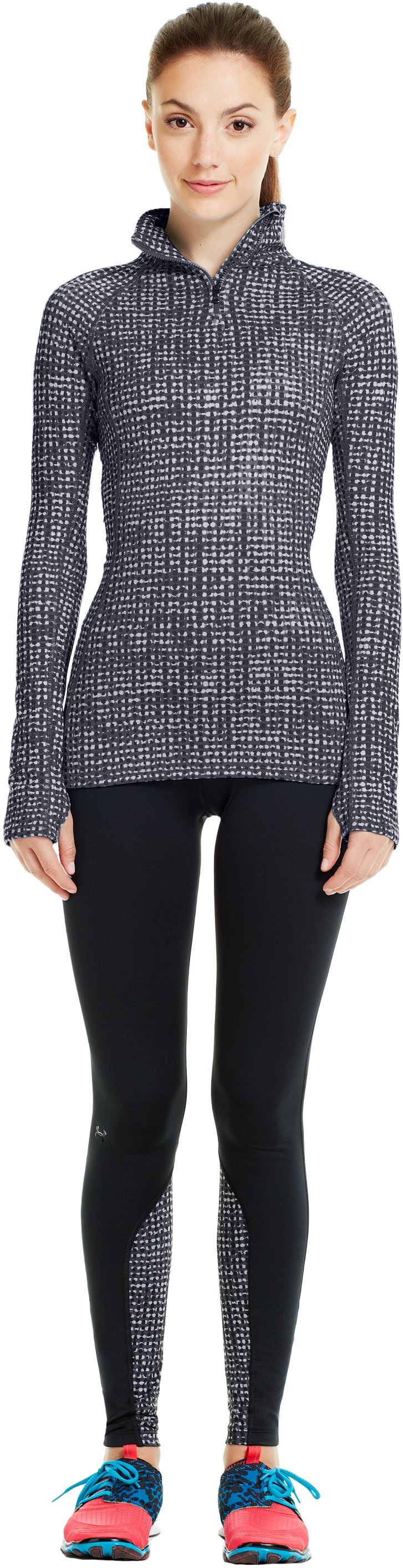 Women's UA Cozy Printed ½ Zip, Black , zoomed image