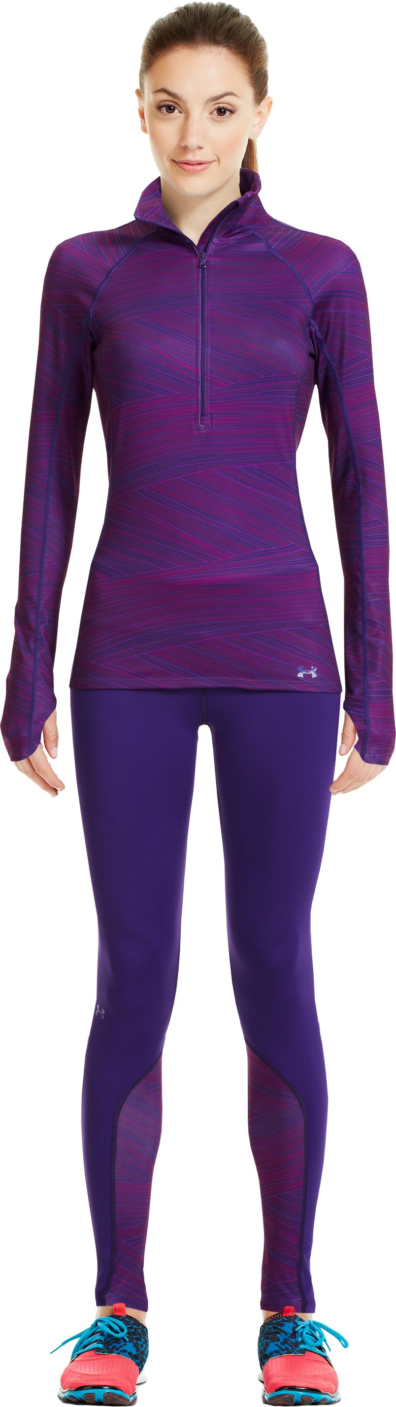Women's UA Cozy Printed ½ Zip, Purple Rain, Front