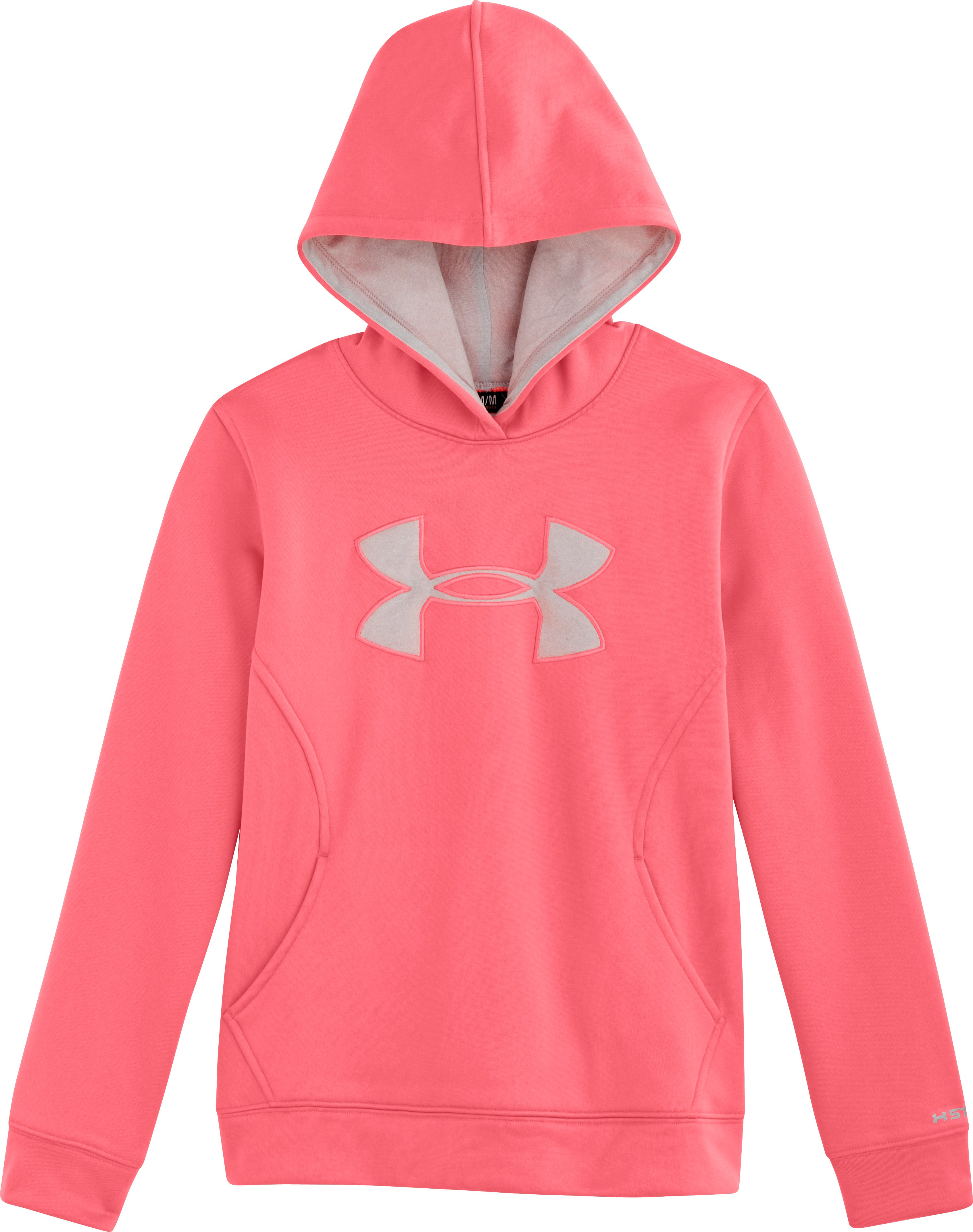 Girls' Armour® Fleece Storm Big Logo Hoodie, BRILLIANCE, Laydown