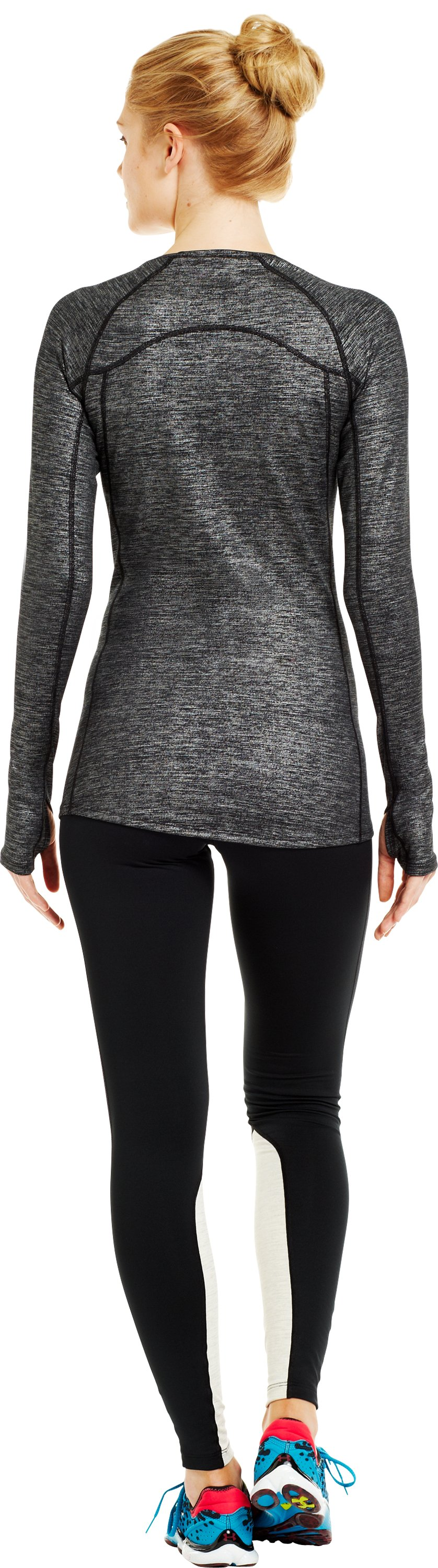 Women's UA Cozy Crew Shimmer, Metallic Pewter, Back