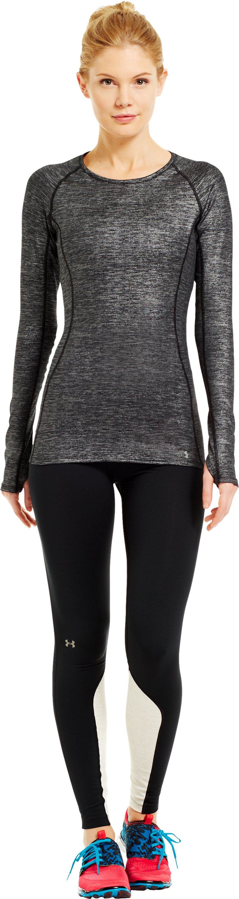 Women's UA Cozy Crew Shimmer, Metallic Pewter, Front